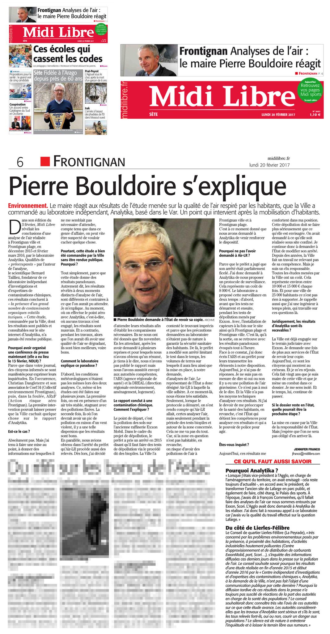 """20 FEVRIER 2017 > MIDI-LIBRE : """"Frontignan : Analyses de l'air, le maire Pierre Bouldoire réagit"""""""