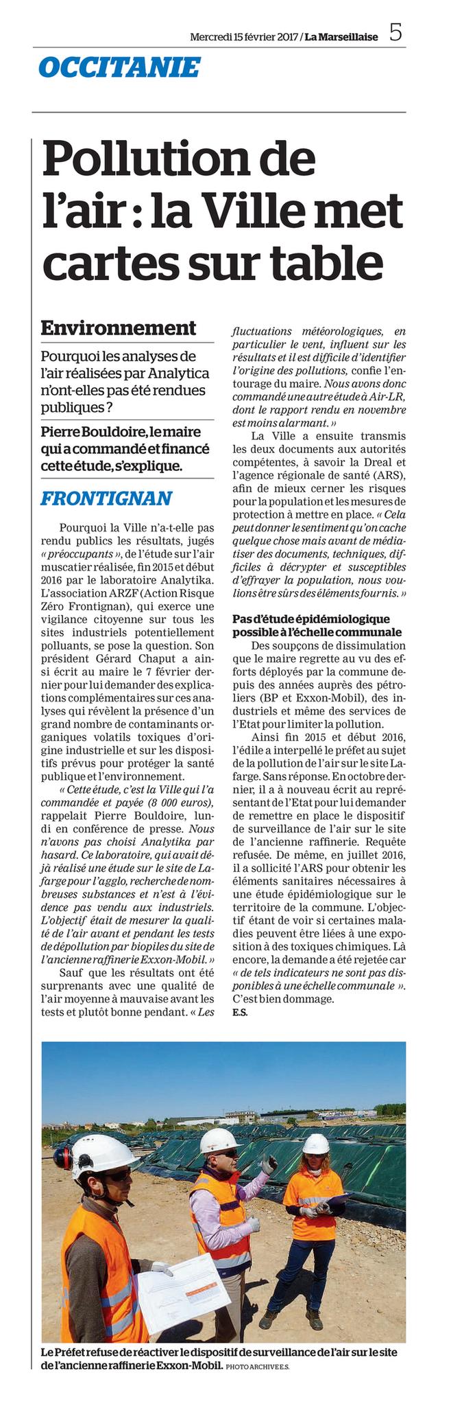 """15.02.2017 > LA MARSEILLAISE : """"Pollution de l'air à Frontignan : La Ville met cartes sur table"""""""