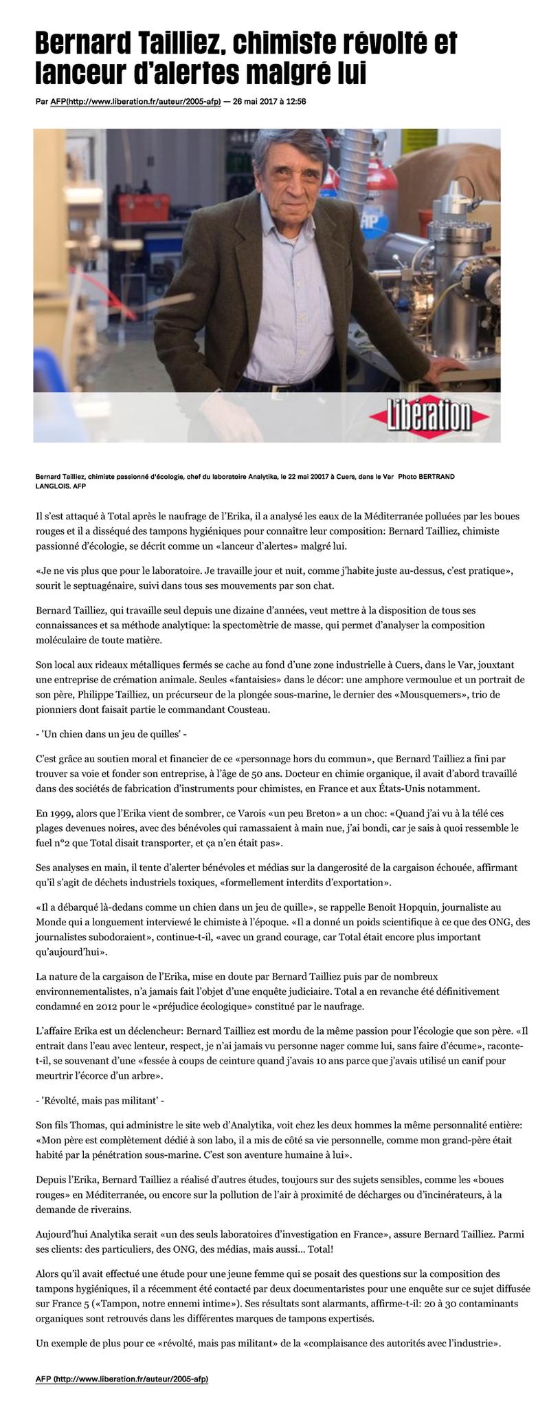 """26.05.2017 > LIBÉRATION/AFP : """"Bernard Tailliez, chimiste révolté et lanceur d'alertes malgré lui"""""""