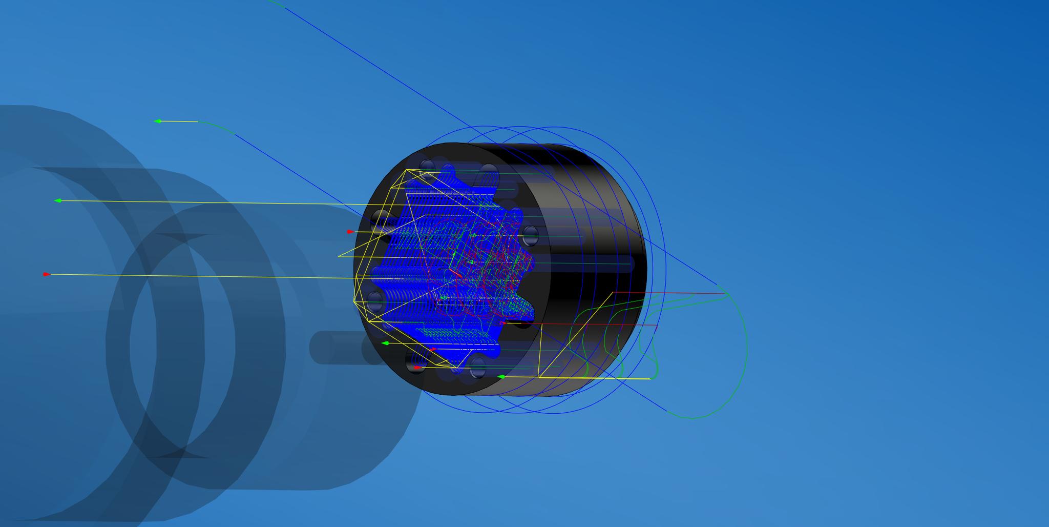 Einblick in den CAM-Bearbeitungsprozess. Alle Werkzeugwege werden nacheinander dargestellt und Fehler durch Programmierung somit ausgeschlossen