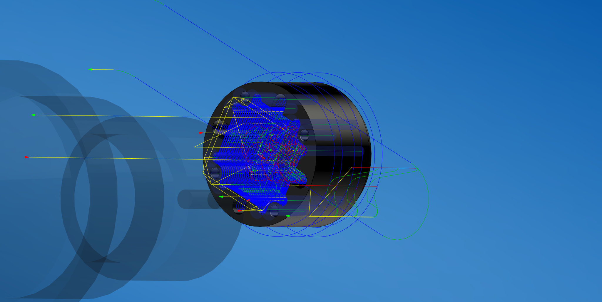 Einblick in den CAM-Bearbeitungsprozess. Alle Werkzeugwege werden nacheinander dargestellt und Fehler durch Programmierung somit ausgeschlossen.