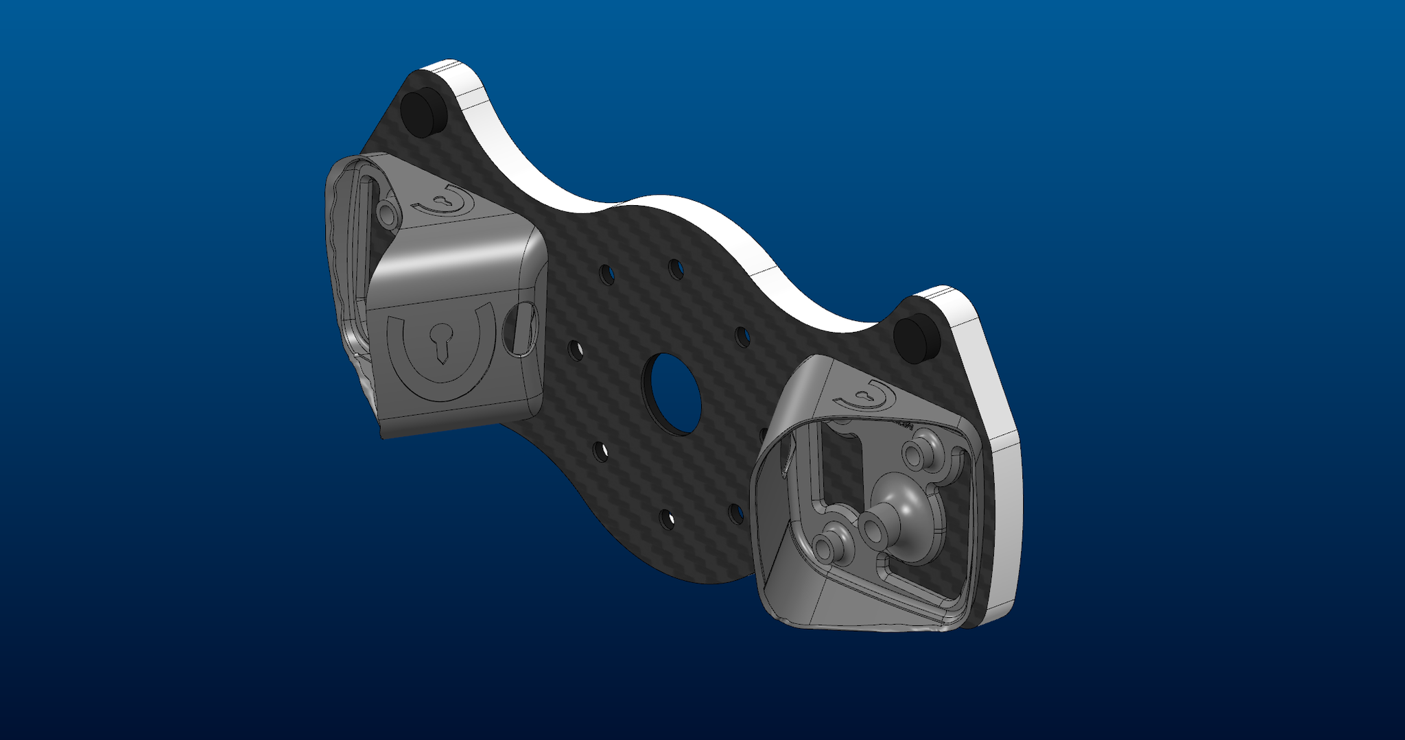Die Schaltwippenadapter montiert auf einer in-house gefertigten Carbon Trägerplatte