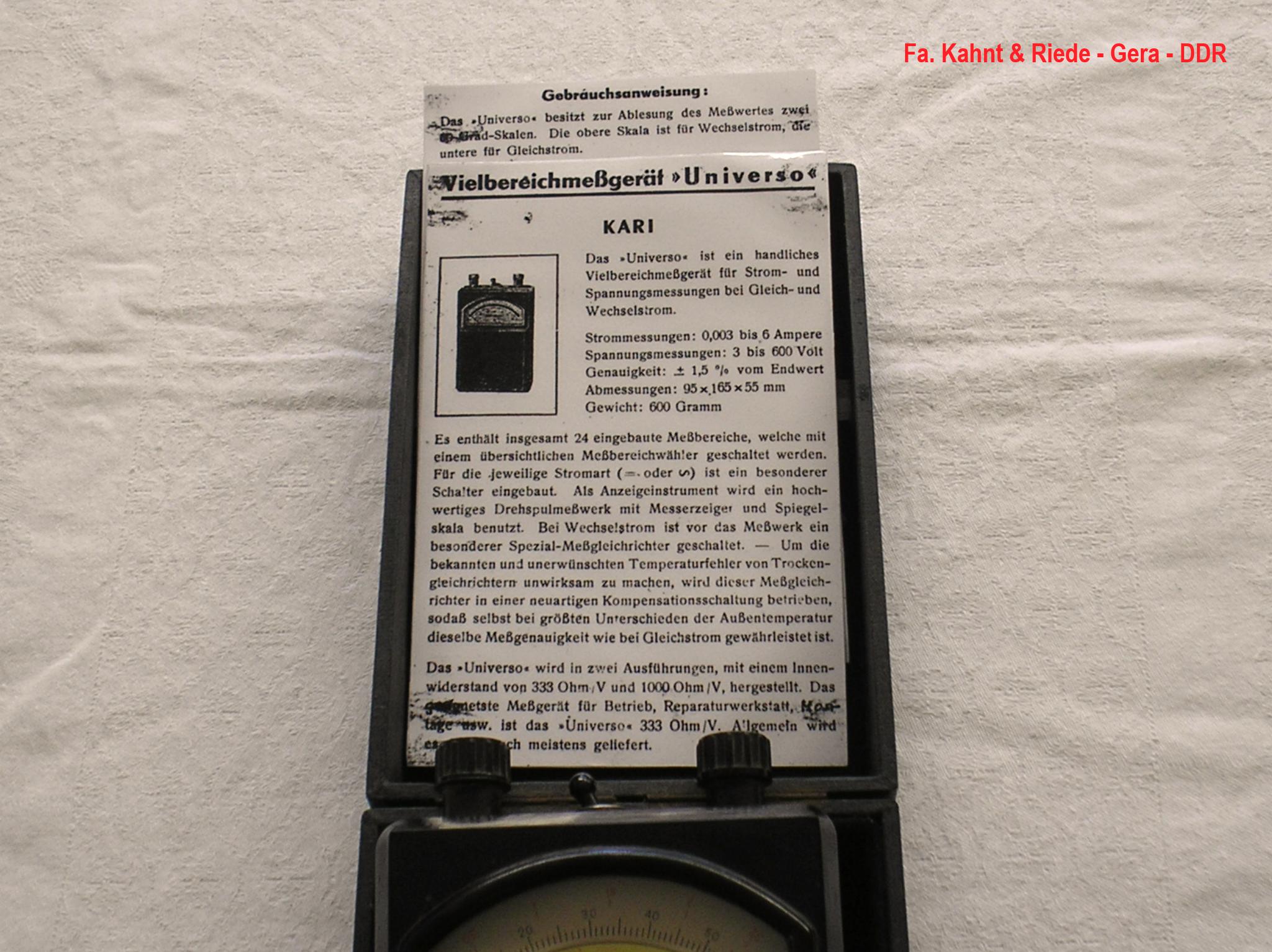 Bild 472-1 - Kahnt & Riede Gera - DDR - Multimeter 1 000 Ohm / Volt - Fertigungsjahr  1949