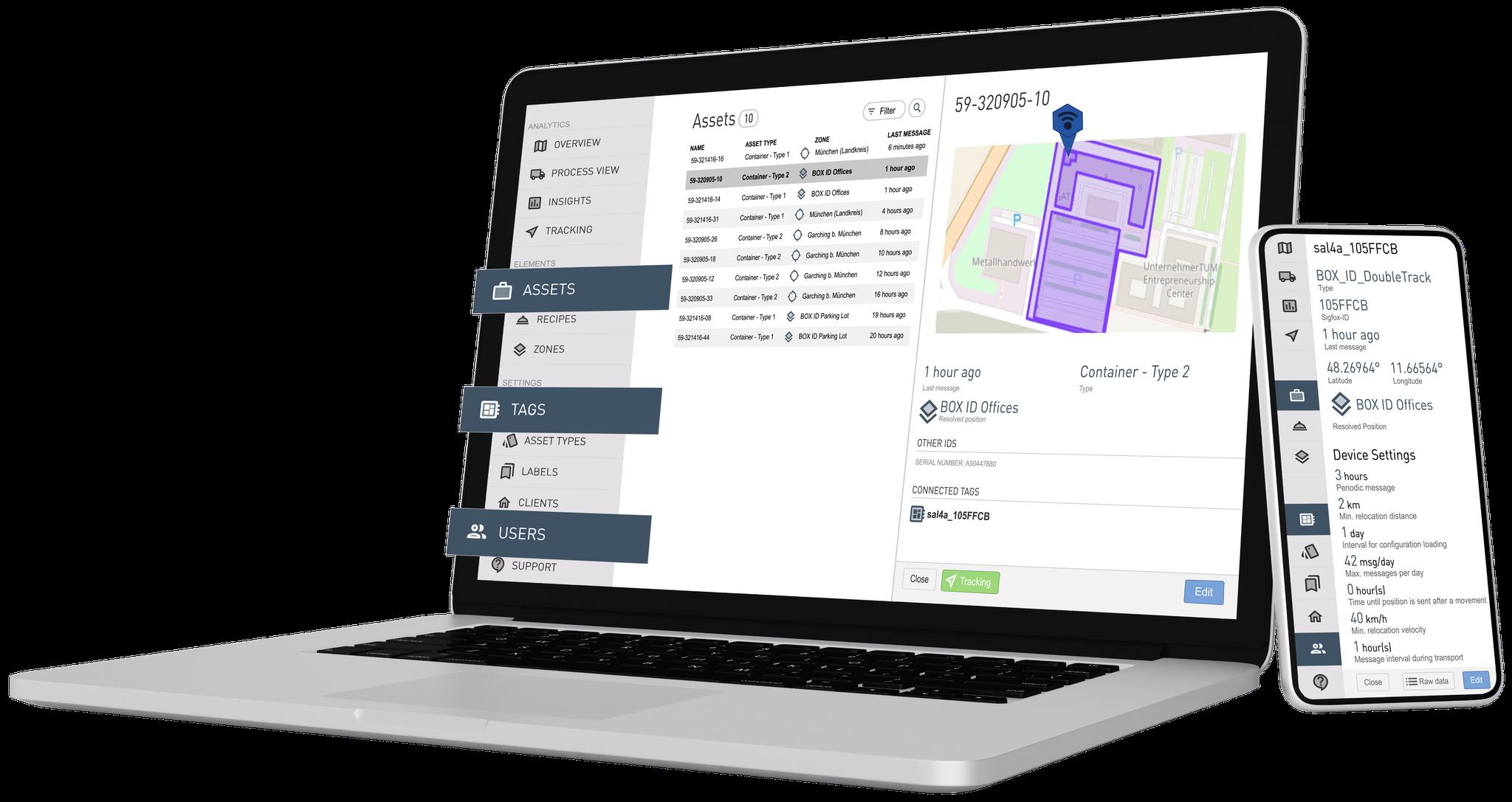 Herramientas de gestión: administración global de datos de los activos, configuraciones de etiquetas y configuraciones de usuario del sistema
