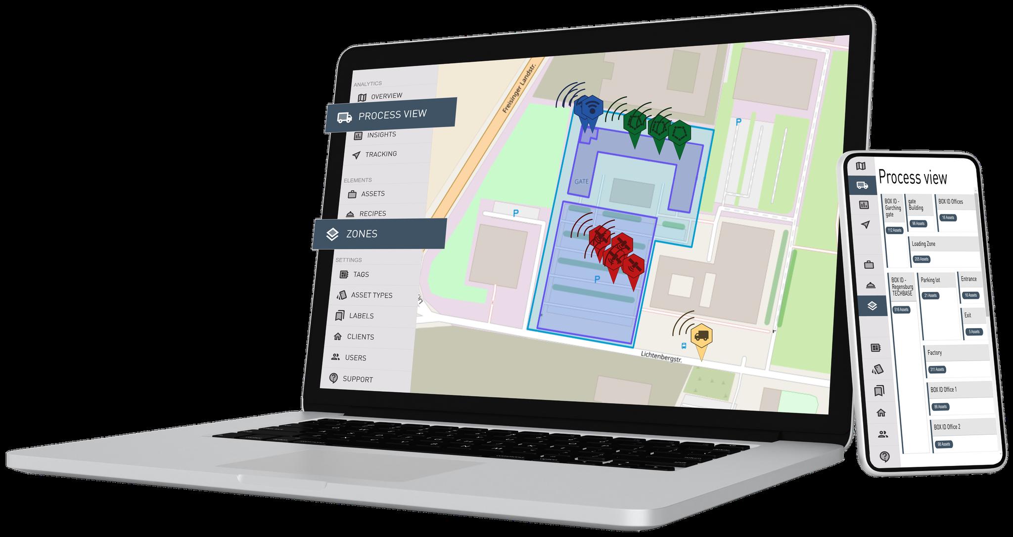 Vor-Ort-Inventur: Anzahl der Assets in jeder definierten Prozesszone (innerhalb von Gebäuden und im Freien)