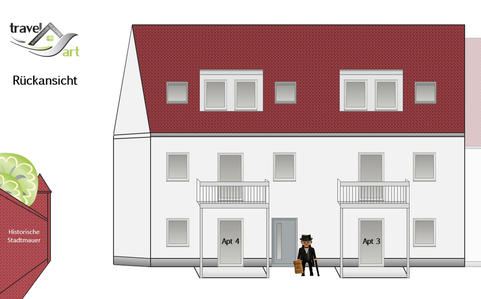 Rückansicht Apartmenthaus