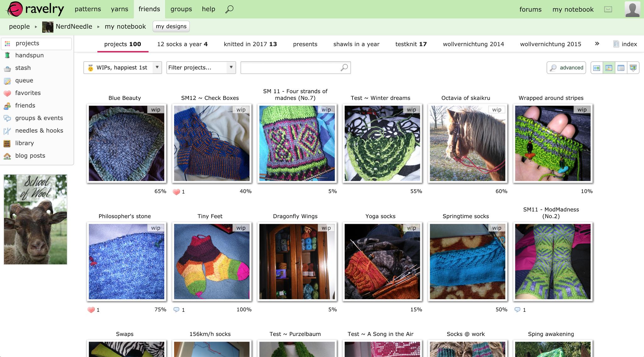 ravelry.com: Webplattform, mit der Strick- und Nähprojekte präsentiert, geteilt und verwaltet werden können für Privatpersonen.