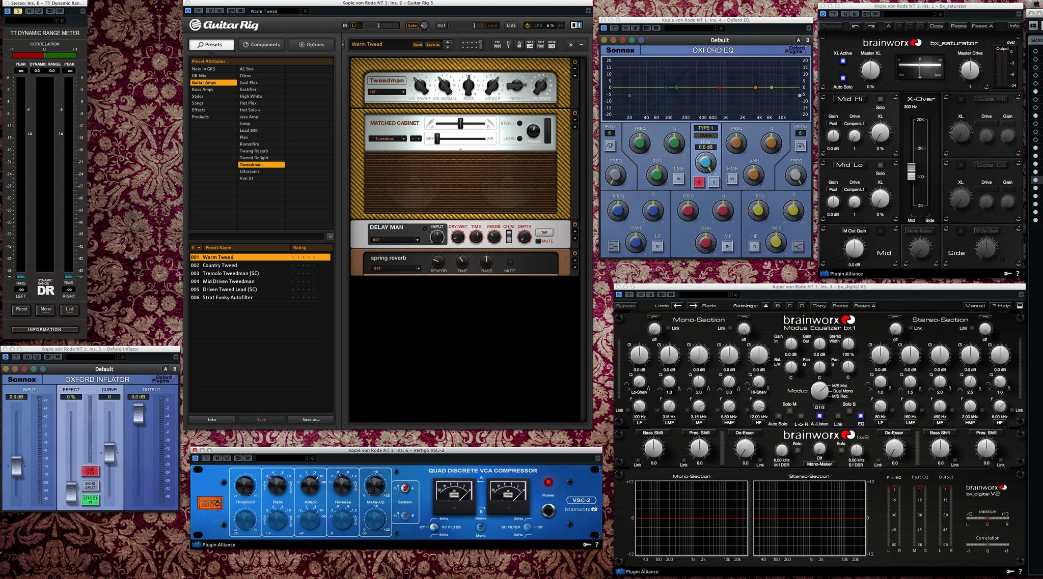 Plugin's Sonnox Oxford, Brainworx, Guitar Rig, VSC-2 ...