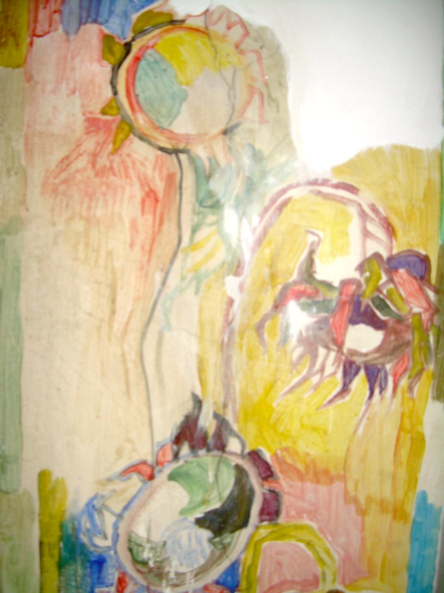Fresko im großen Atelier Raum im Roten Haus - Bettina Heinen-Ayech, ca. 1960