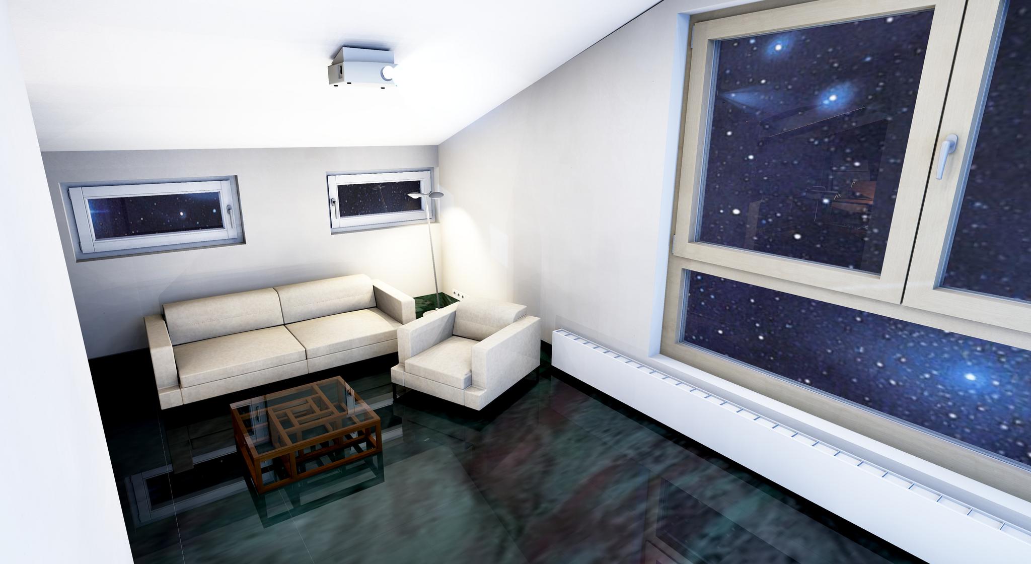 Beamer Raum Sofa und Nachthimmel