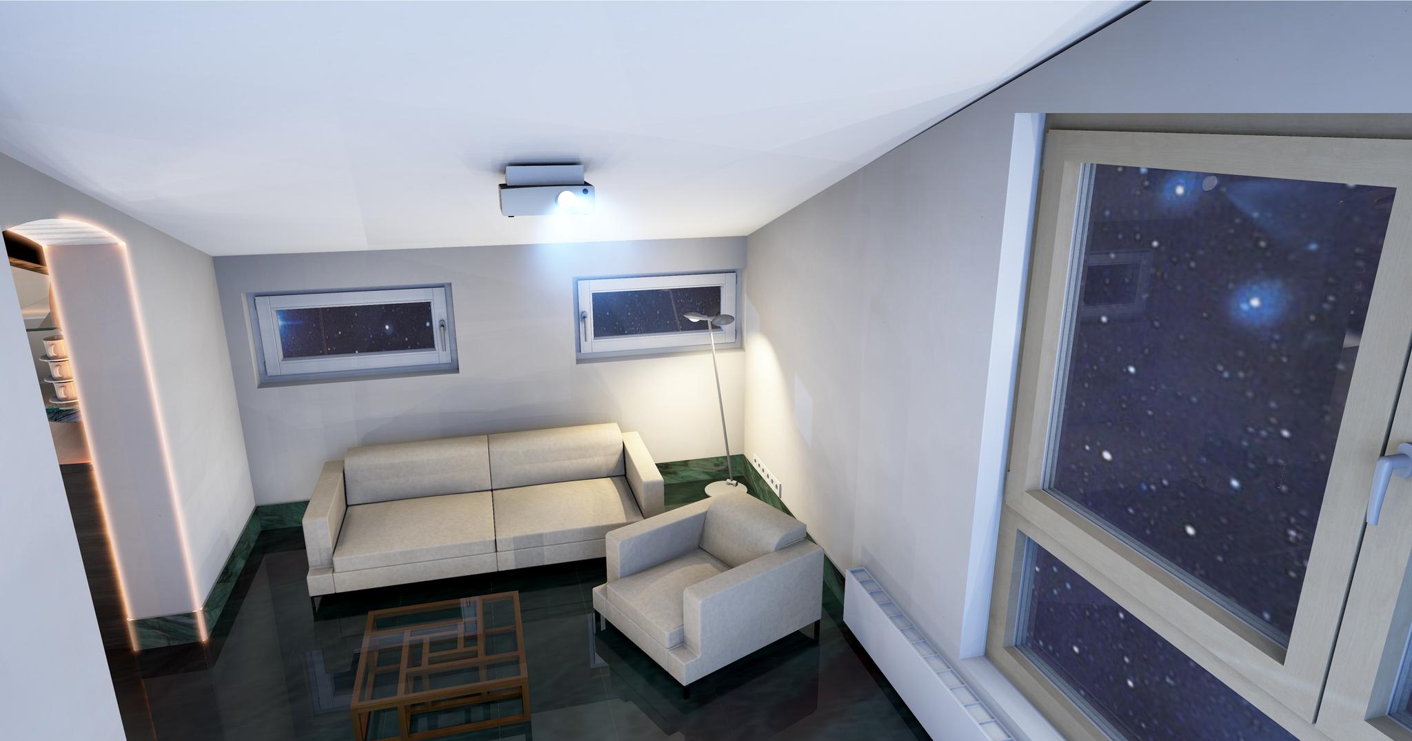 Beamer Raum Sofa