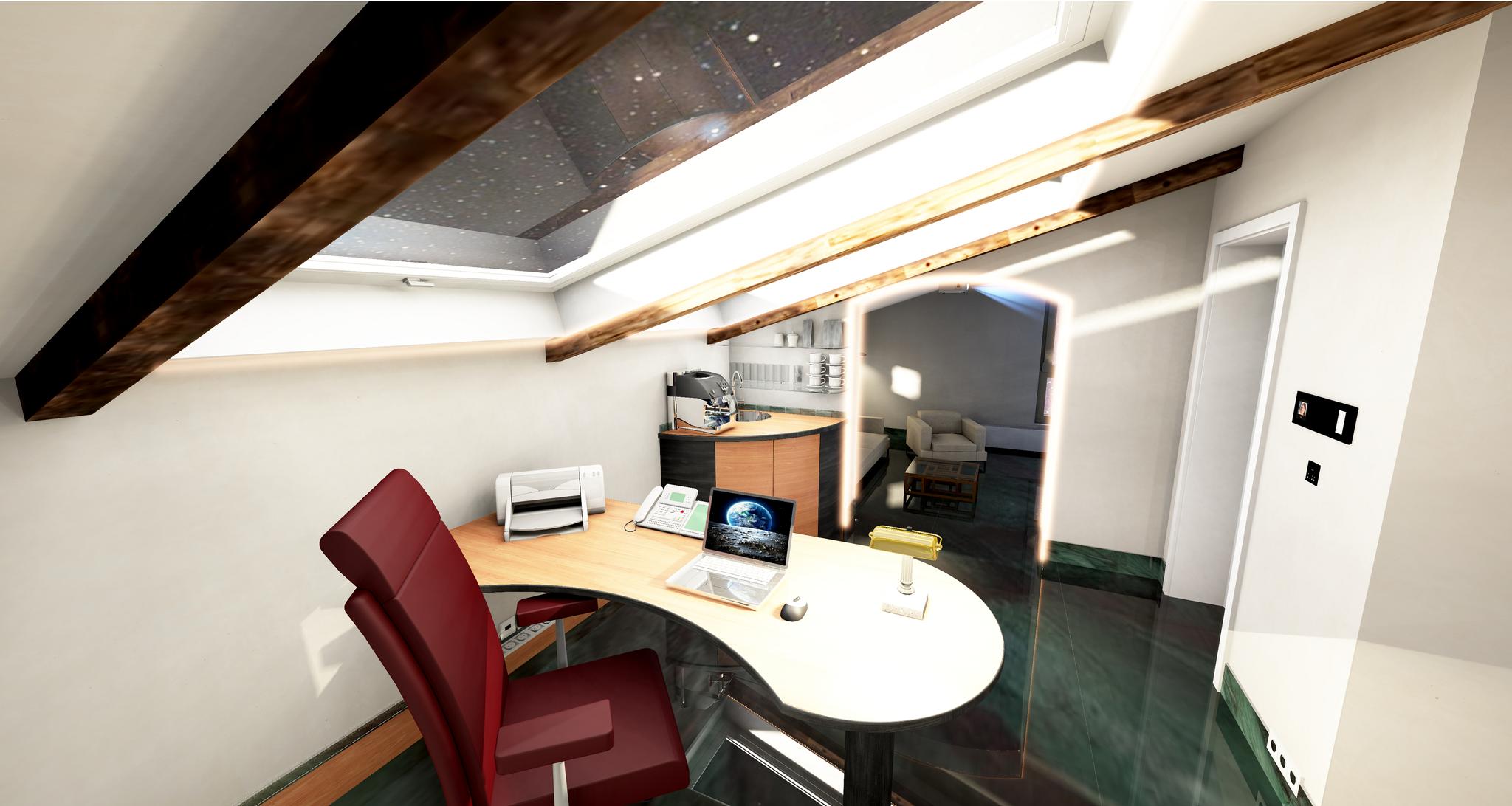 Büro unter dem Dach Schreibtisch oben