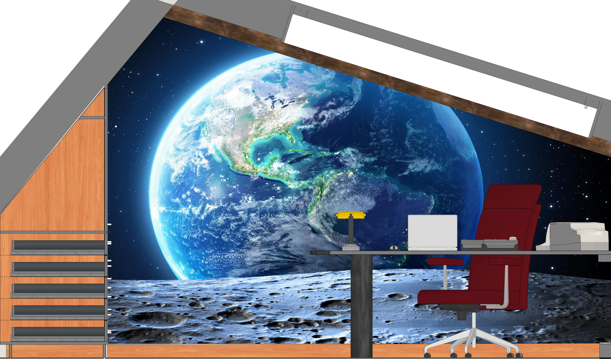 Büro Front High-End-Fotorealistik mit Blick auf Terra