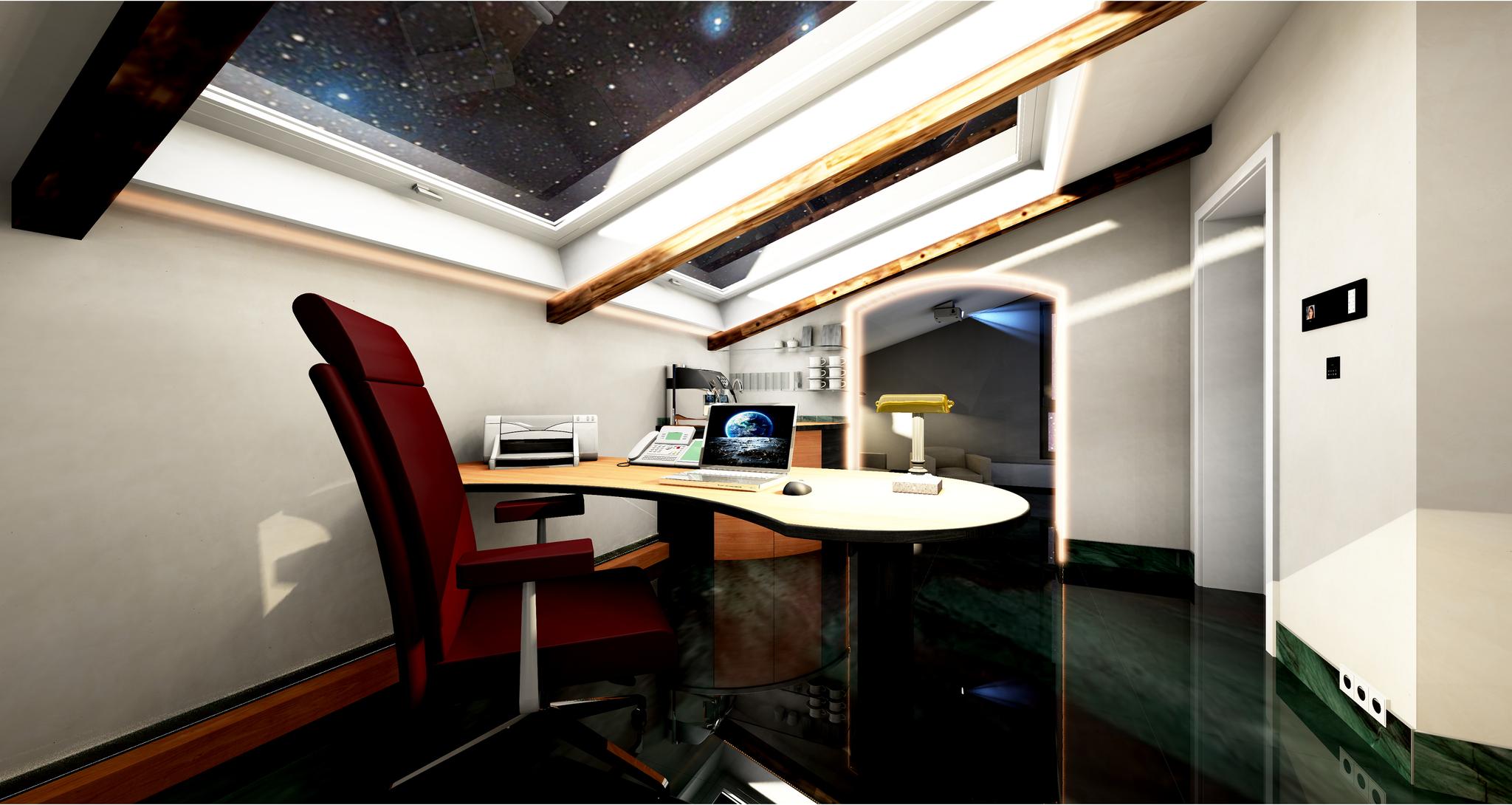 Büro unter dem Dach Schreibtisch mittig