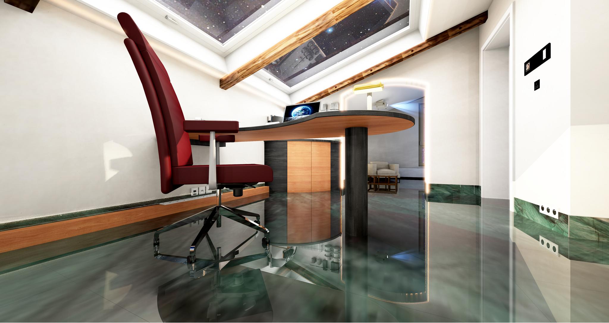 Büro unter dem Dach Schreibtisch unten