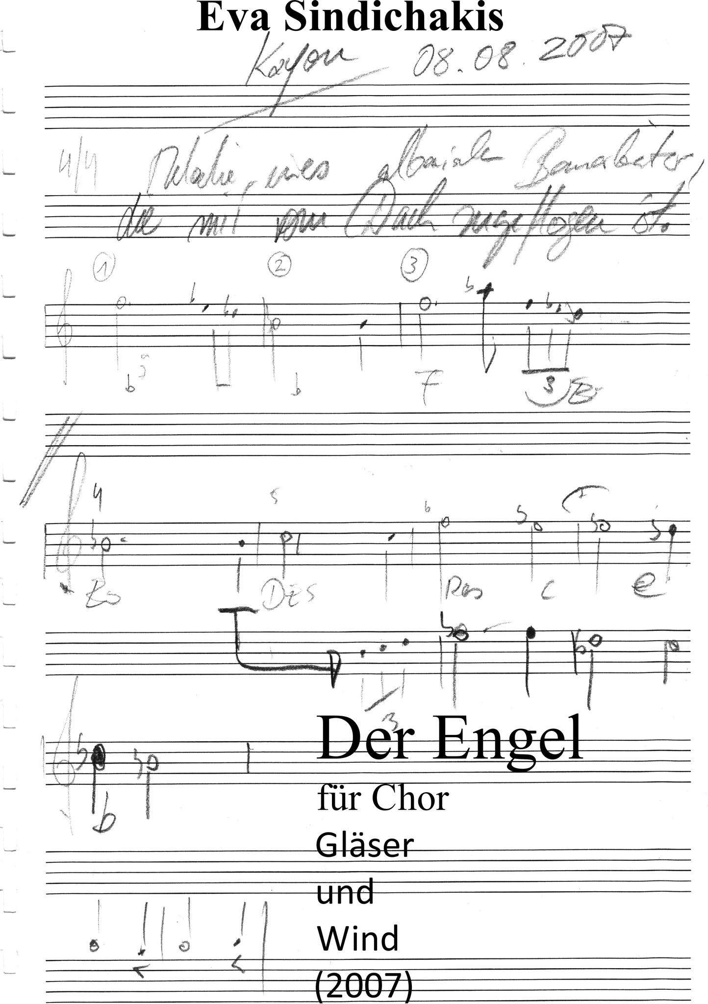 Der Engel für Chor, Gläser und Wind von Eva Sindichakis