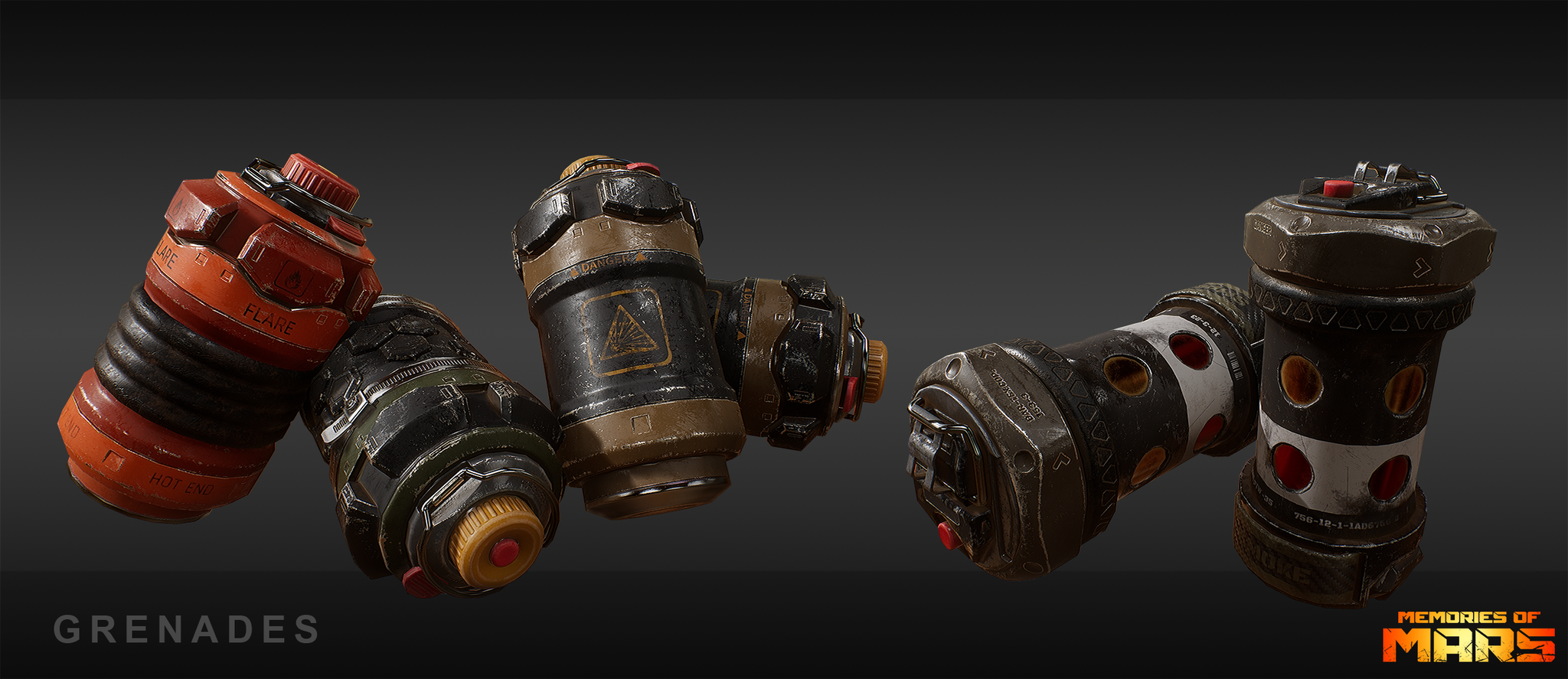 Flare, frag, explosive and smoke grenade for Memories of Mars. First person ingame model.