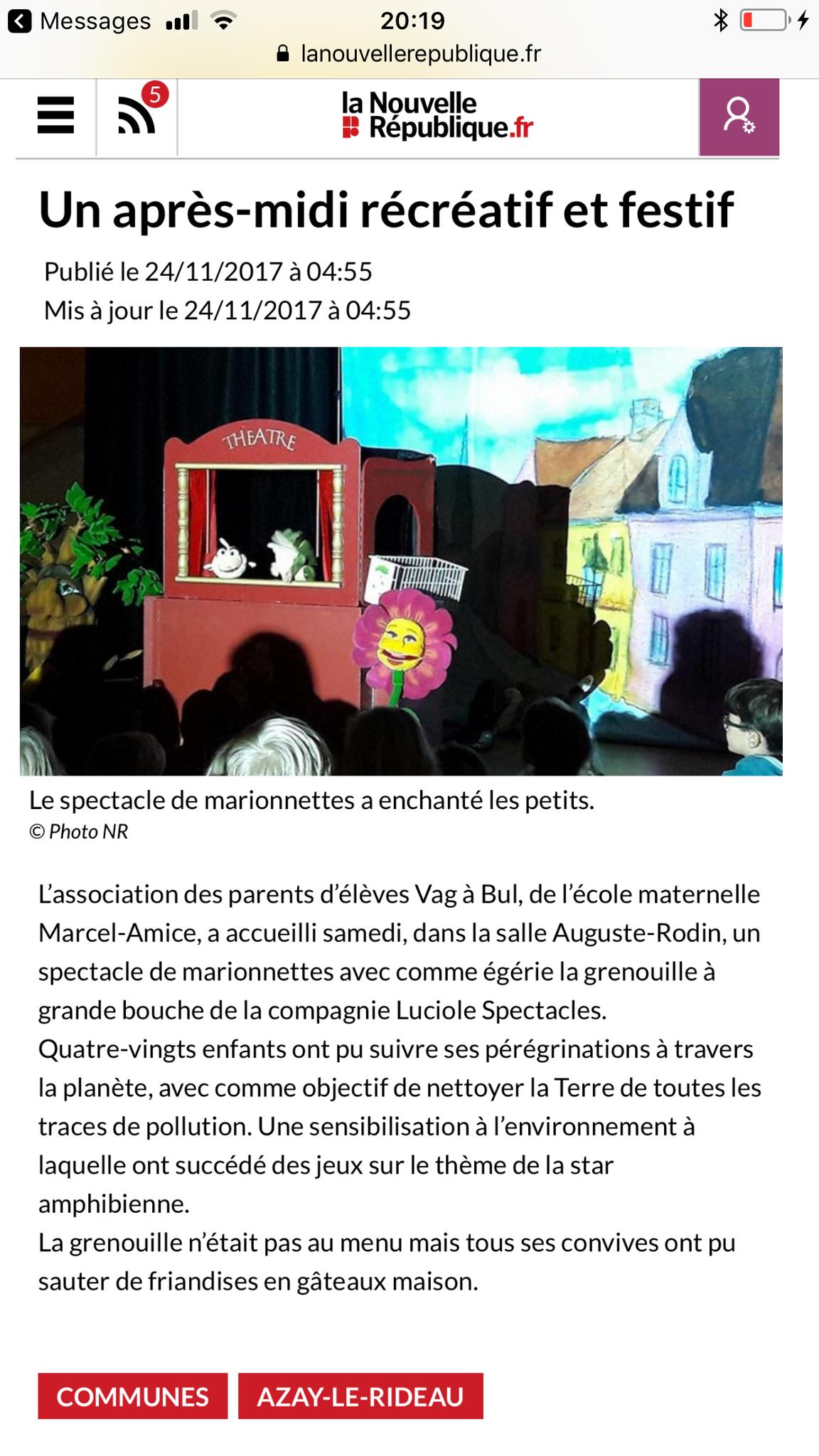 Article sur La Grenouille à Grande Bouche nettoie la Planète à Azay le Rideau-Région Centre-novembre 2017