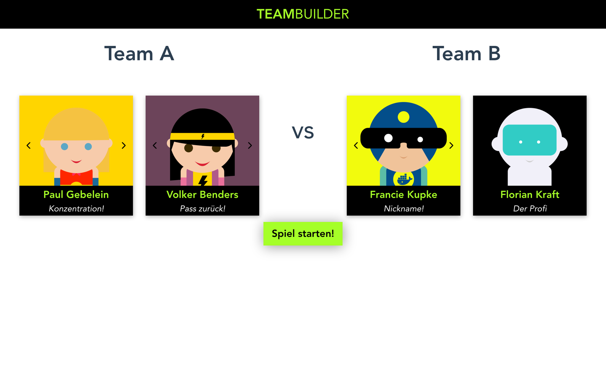 Ein Kicker-Team zusammenstellen