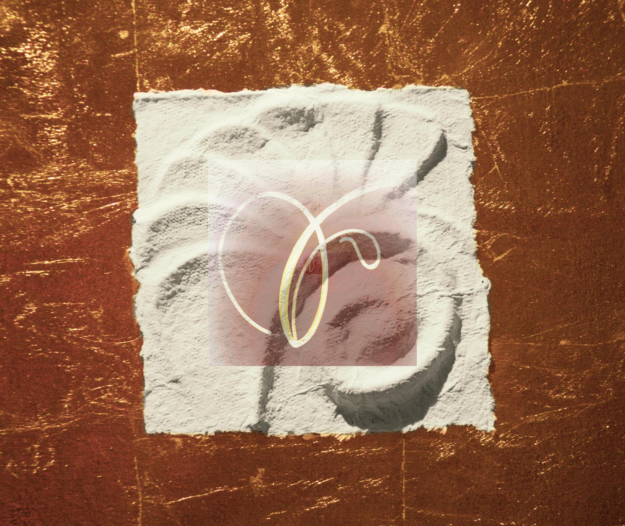 Sternzeichen Löwe - handgeschöpftes geprägtes und energetisiertes Papier auf Blattmetall