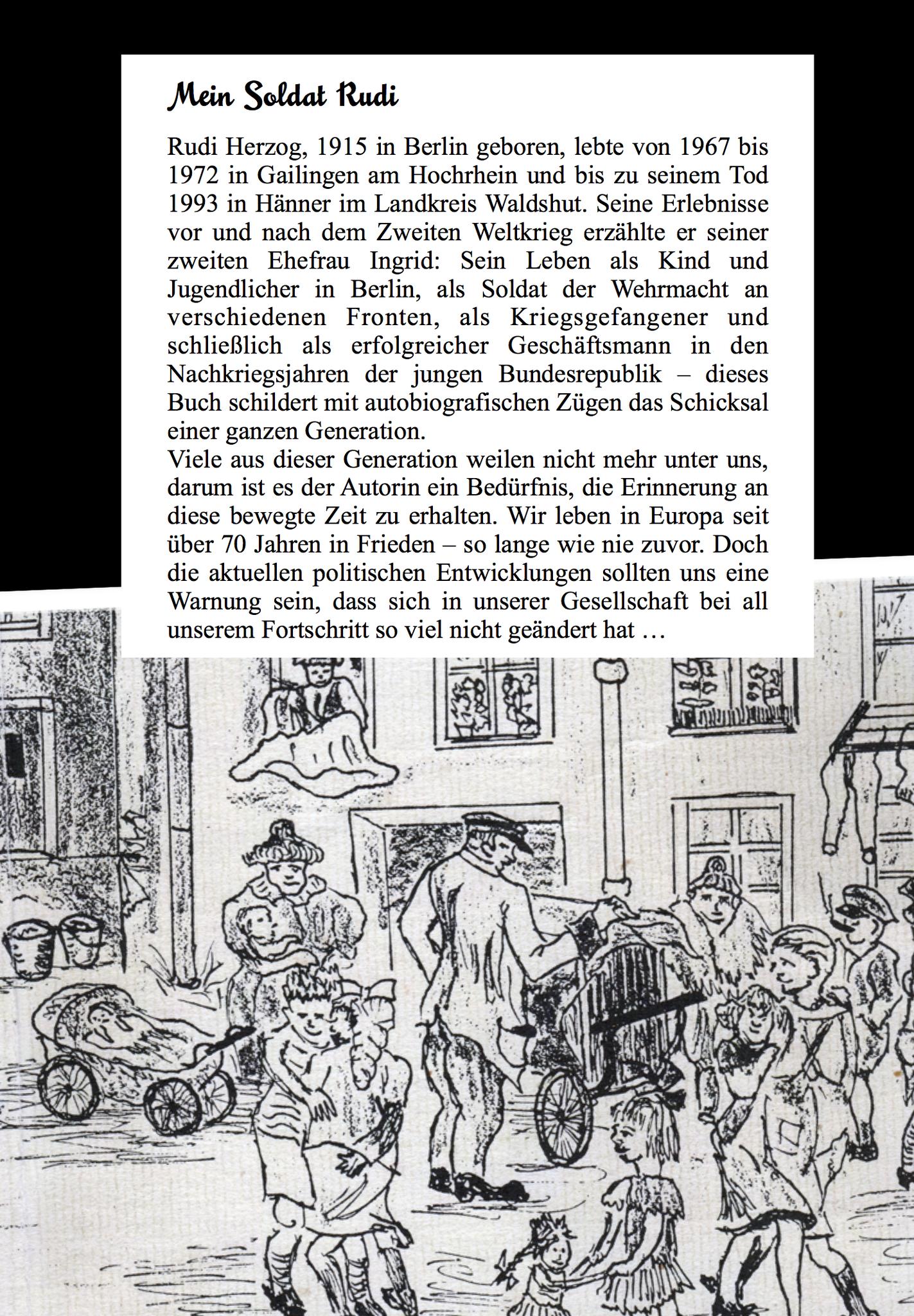 Layout und Text Buchtitel Biografie Rückseite