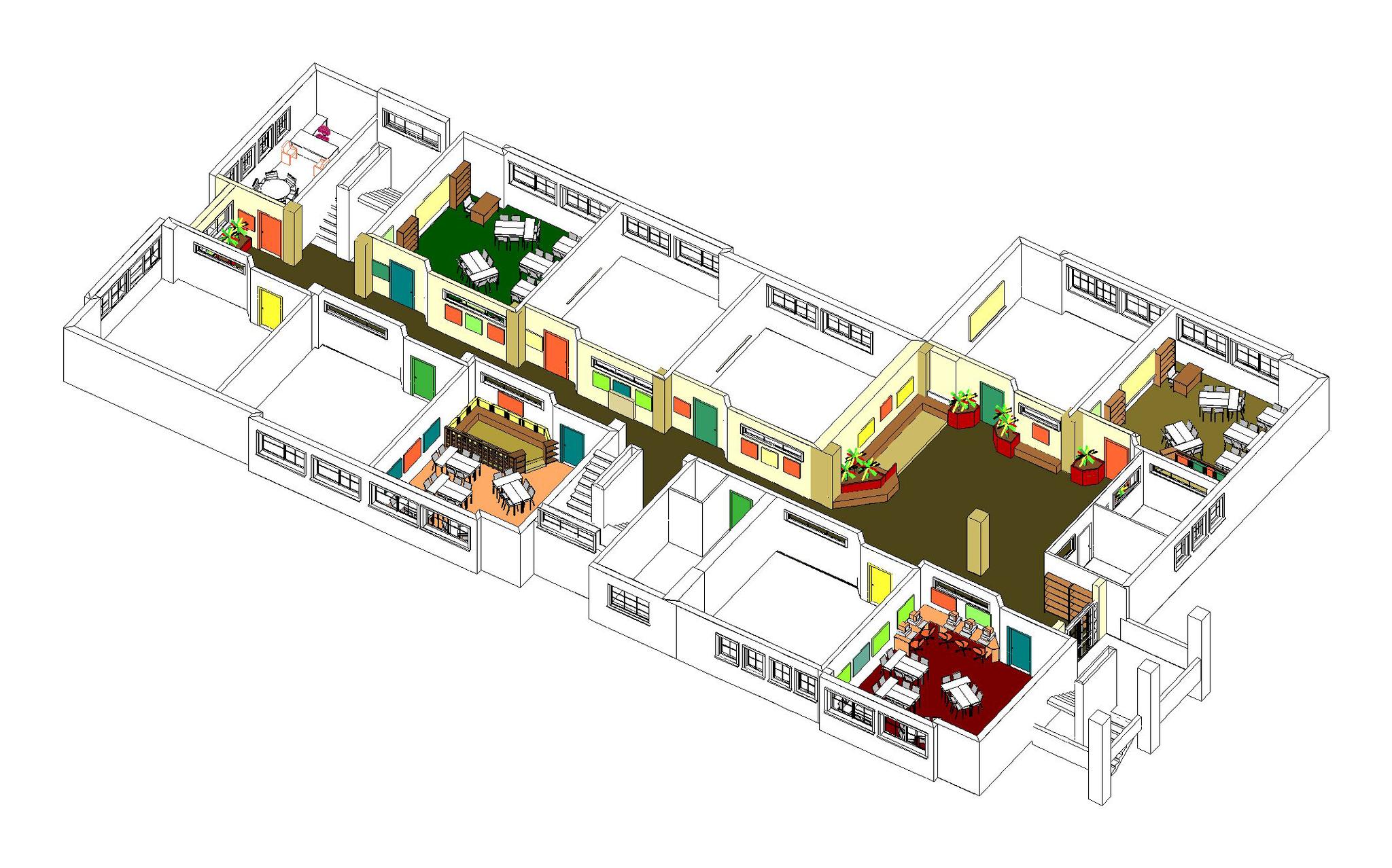 Le hall et le couloir du niveau 2 devenus espace d'expositions et d'activités artistiques
