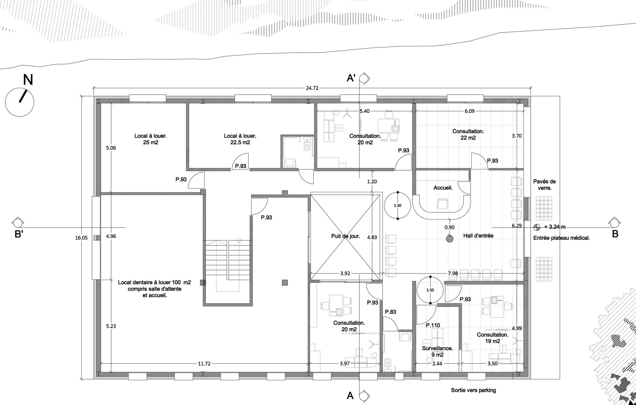 Plan de distribution du 1er étage