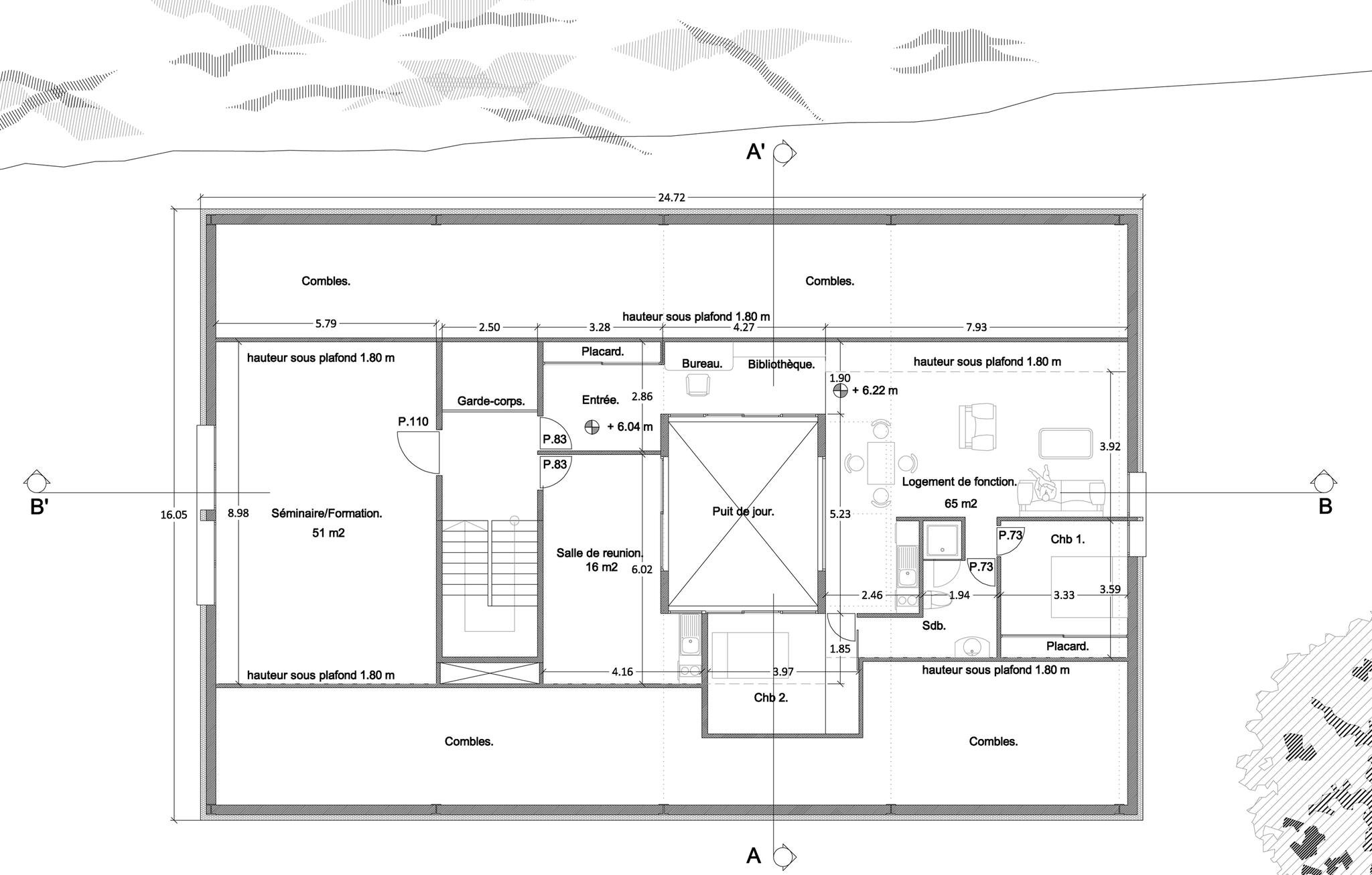 Plan de distribution du 2ème étage