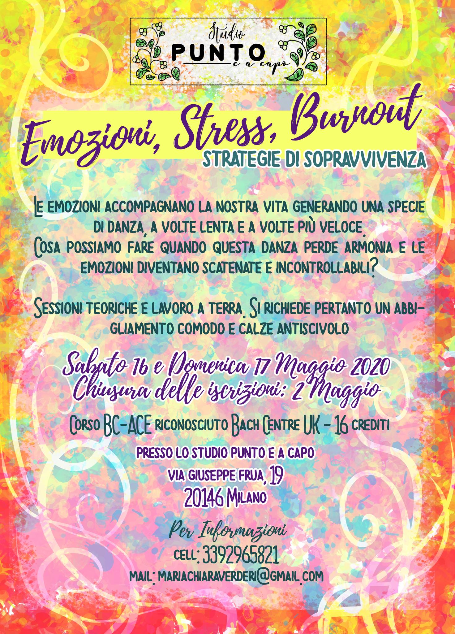 """Milano. RIMANDATO, Seminario BC ACE """"Emozioni, Stress, Burnout - Strategie di sopravvivenza"""" con Maria Chiara Verderi"""