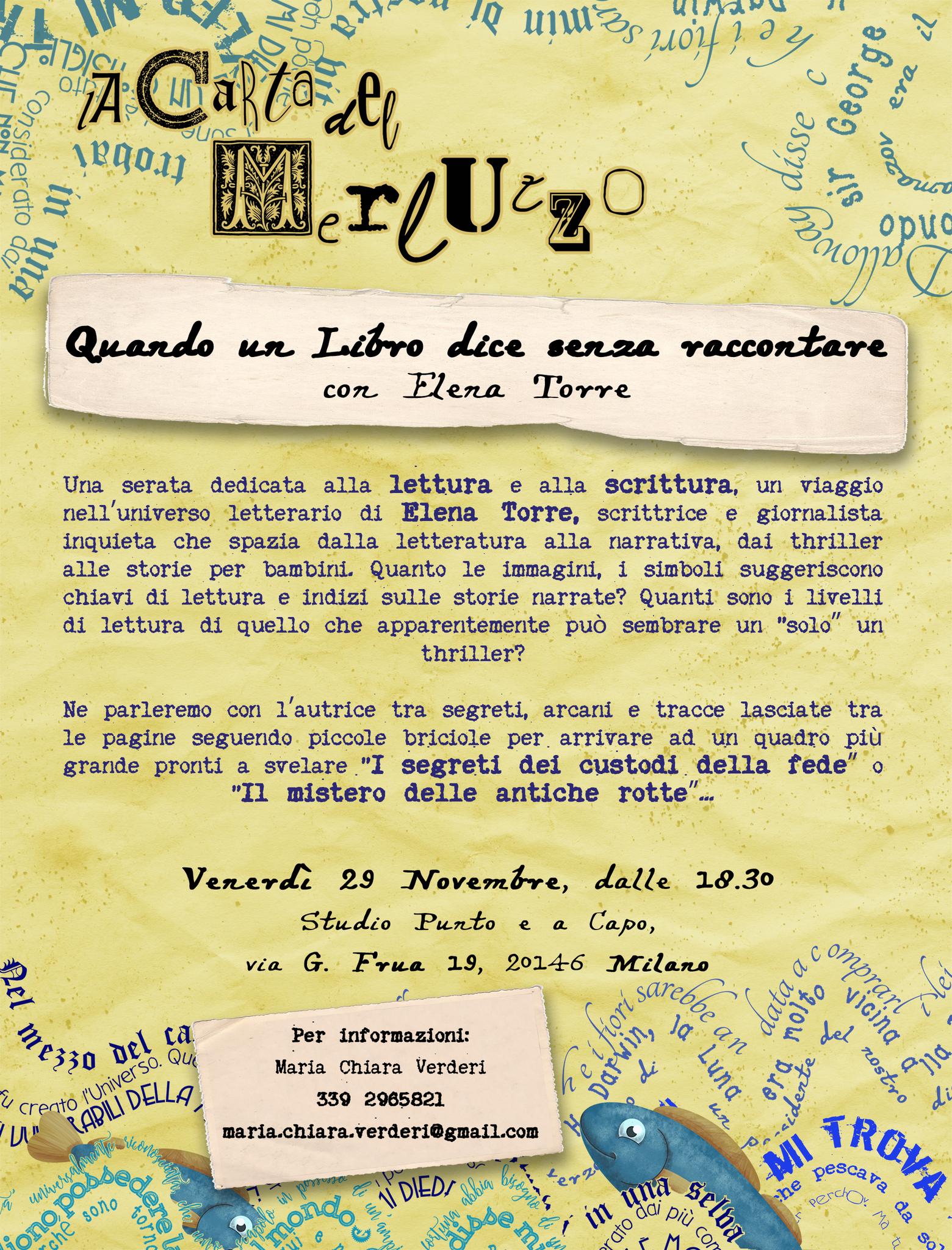 """Milano, 29 Novembre 2019, per La Carta del Merluzzo serata dal titolo """"Quando un Libro dice senza raccontare"""" con Elena Torre"""