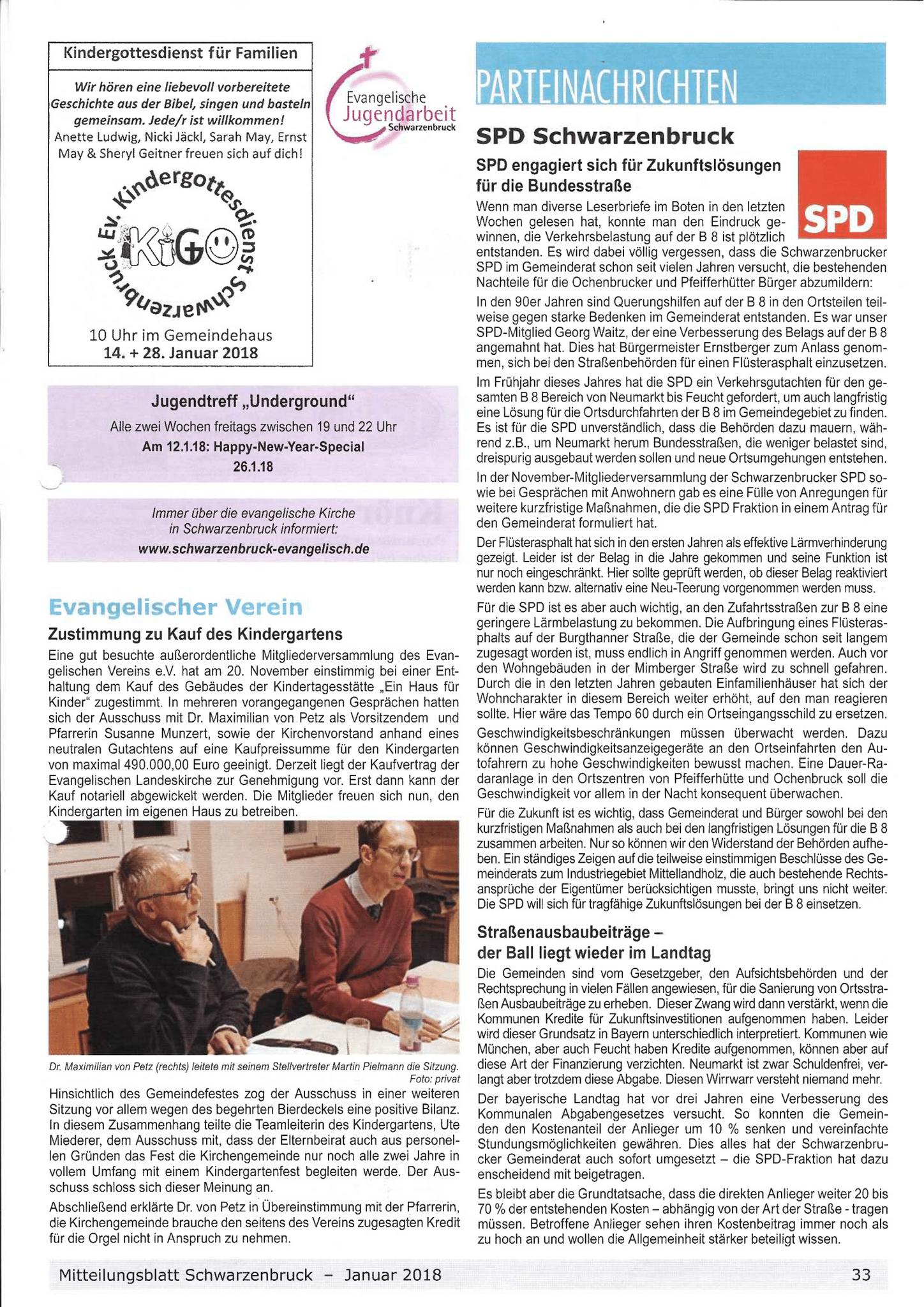 Aus dem Mitteilungsblatt Januar 2018 - SPD engangiert sich für Zukunftslösungen © Mitteilungsblatt Schwarzenbruck