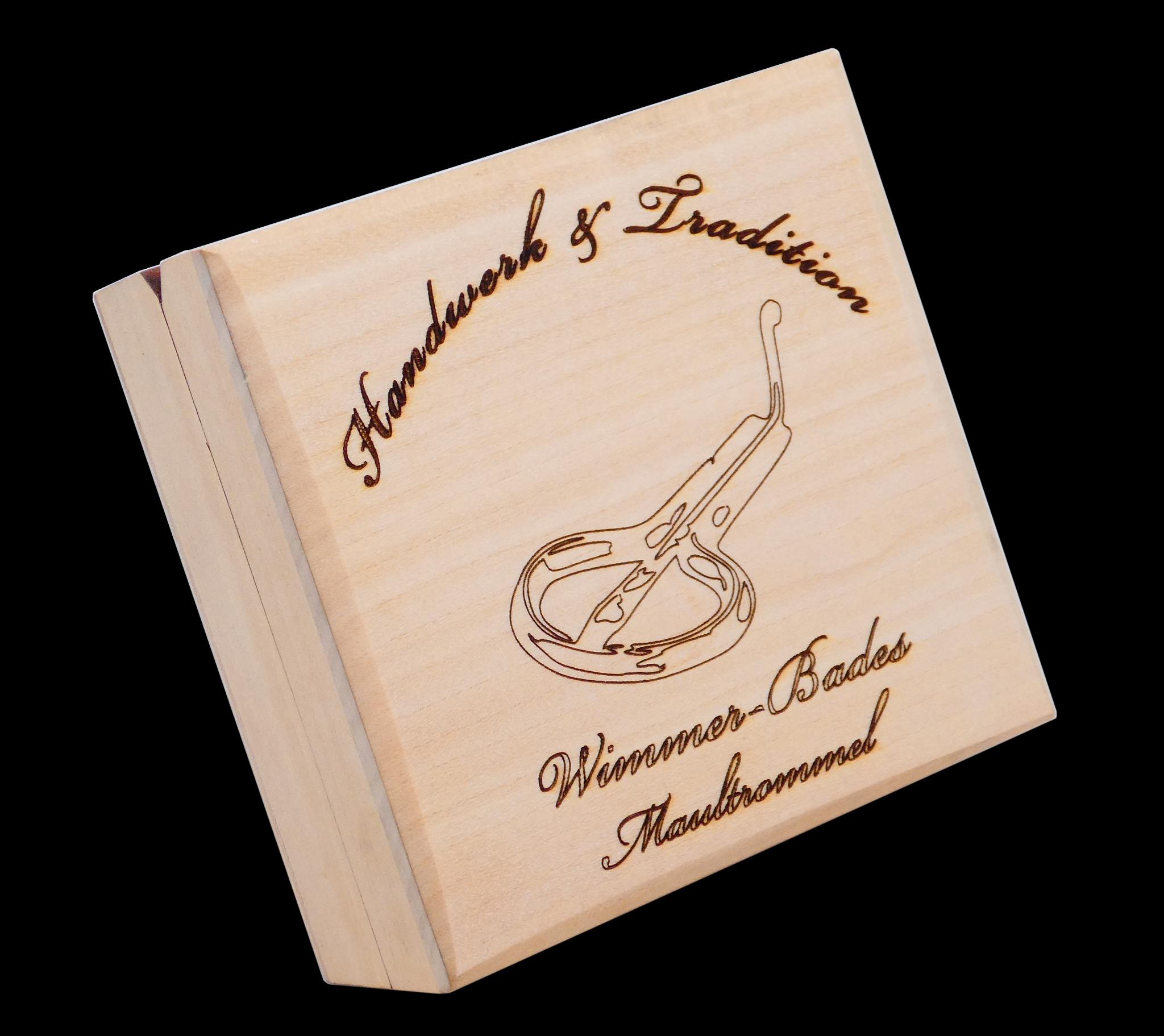 WIMMER-BADES MAULTROMMELN HANDWERK & TRADITION - GOLD MAULTROMMEL IN HOLZKASSETTE