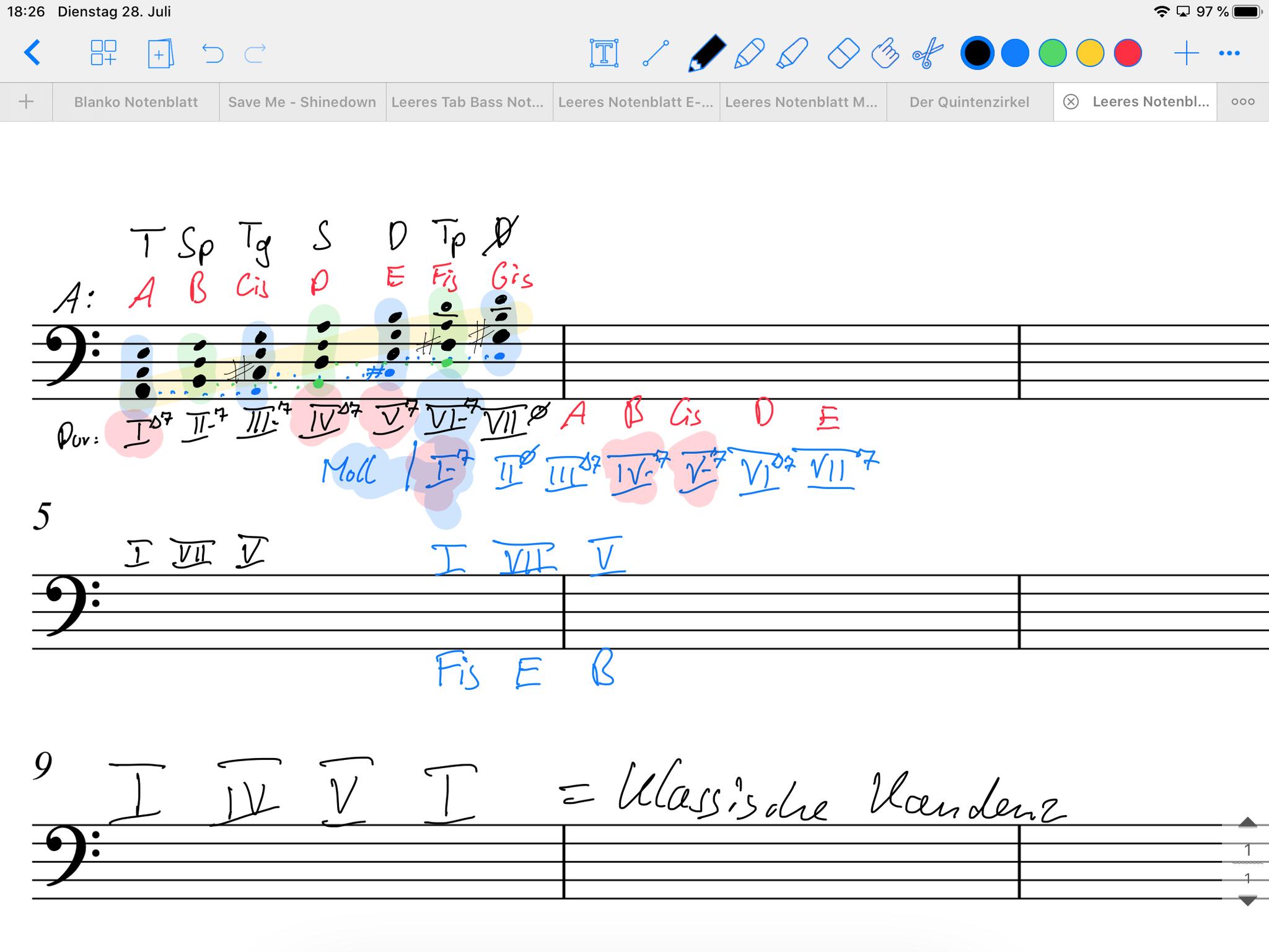 Bsp. digitale Tafelanschrift Harmonielehre