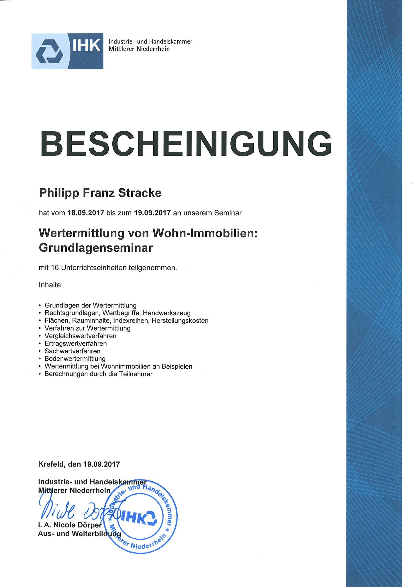 Seminar Wertermittlung (IHK)