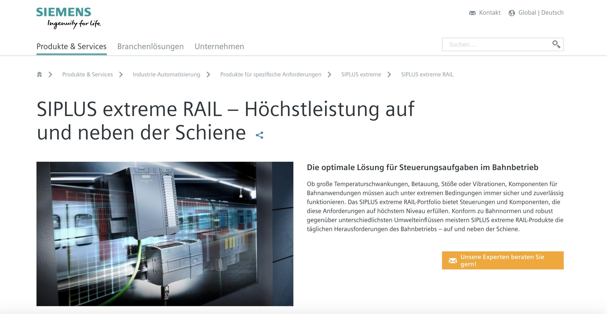 SIEMENS SIPLUS extreme RAIL Website