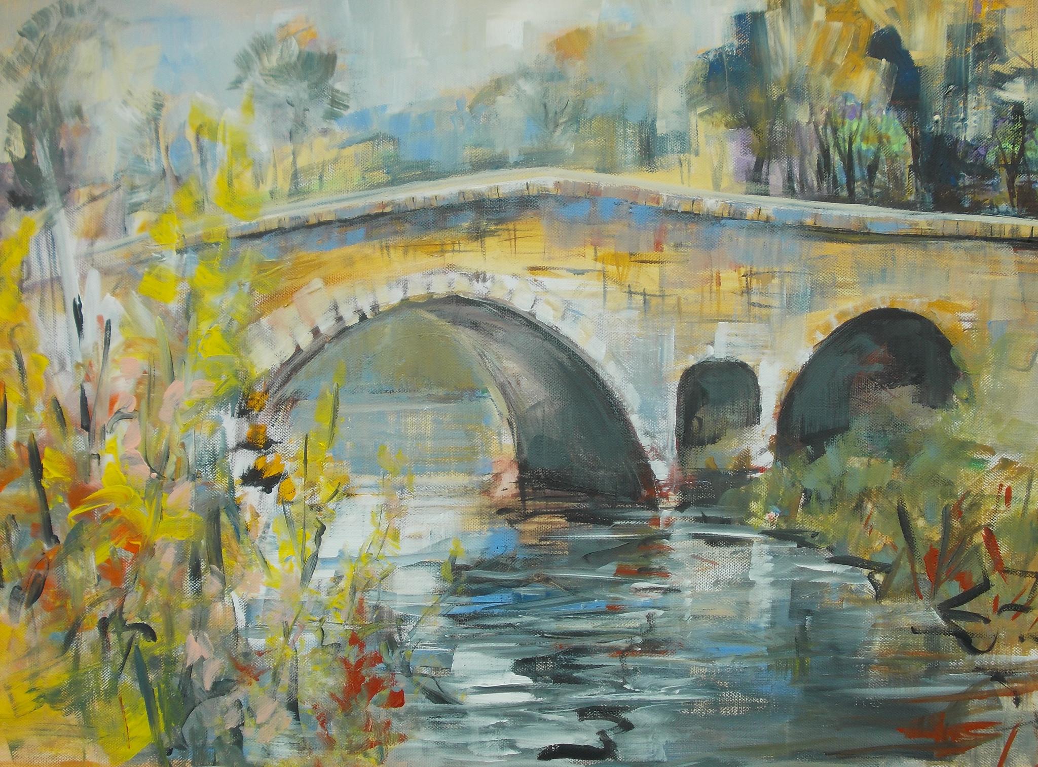 """Pierrette RICAUD  """"Le Pont"""" acrylique"""