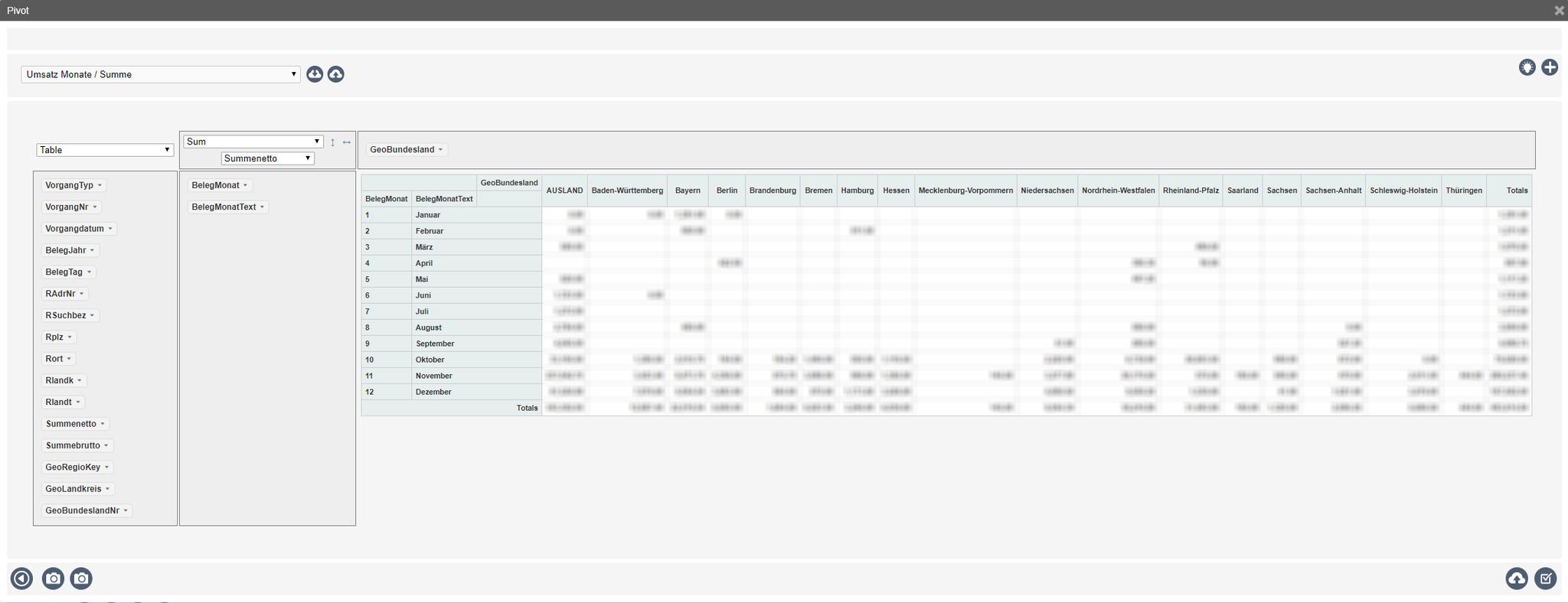 Pivot-Statistik mit wählbaren Spalten per Drag&Drop / Summenbildung / grafischer Darstellung