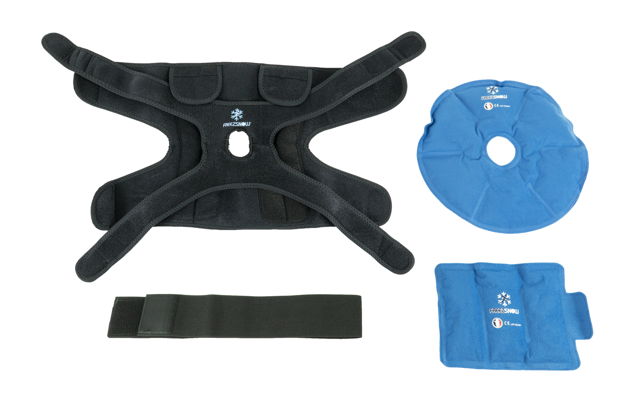 The brace is supplied with four long-lasting Freezsnow® cold packs (including a spare set).