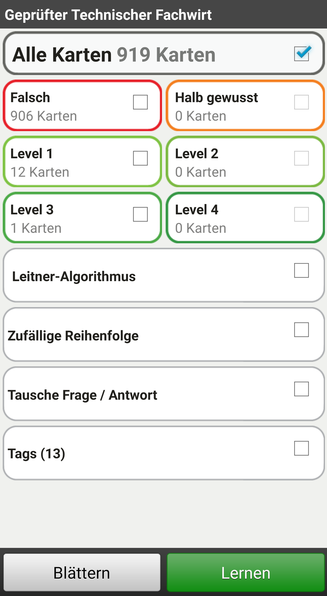 Lernkarten in der App - Übersicht