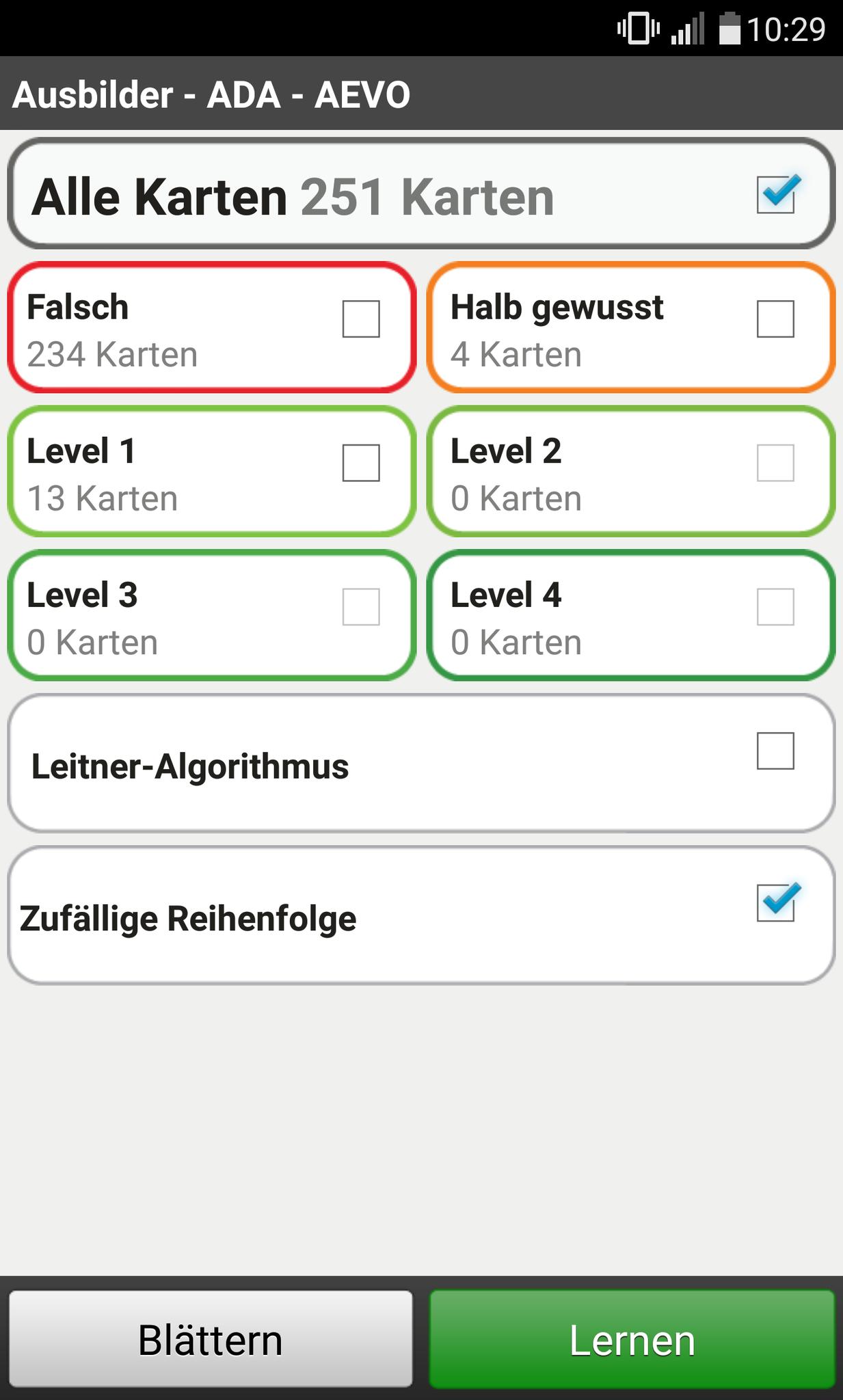 Lernübersicht in der App