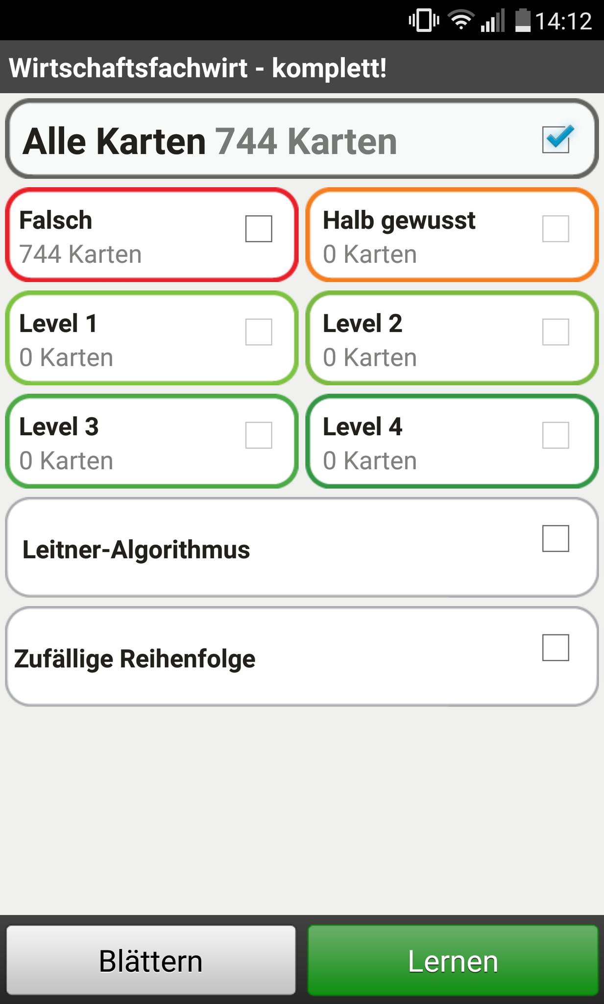 App-Version: Lernfortschritt kontrollieren