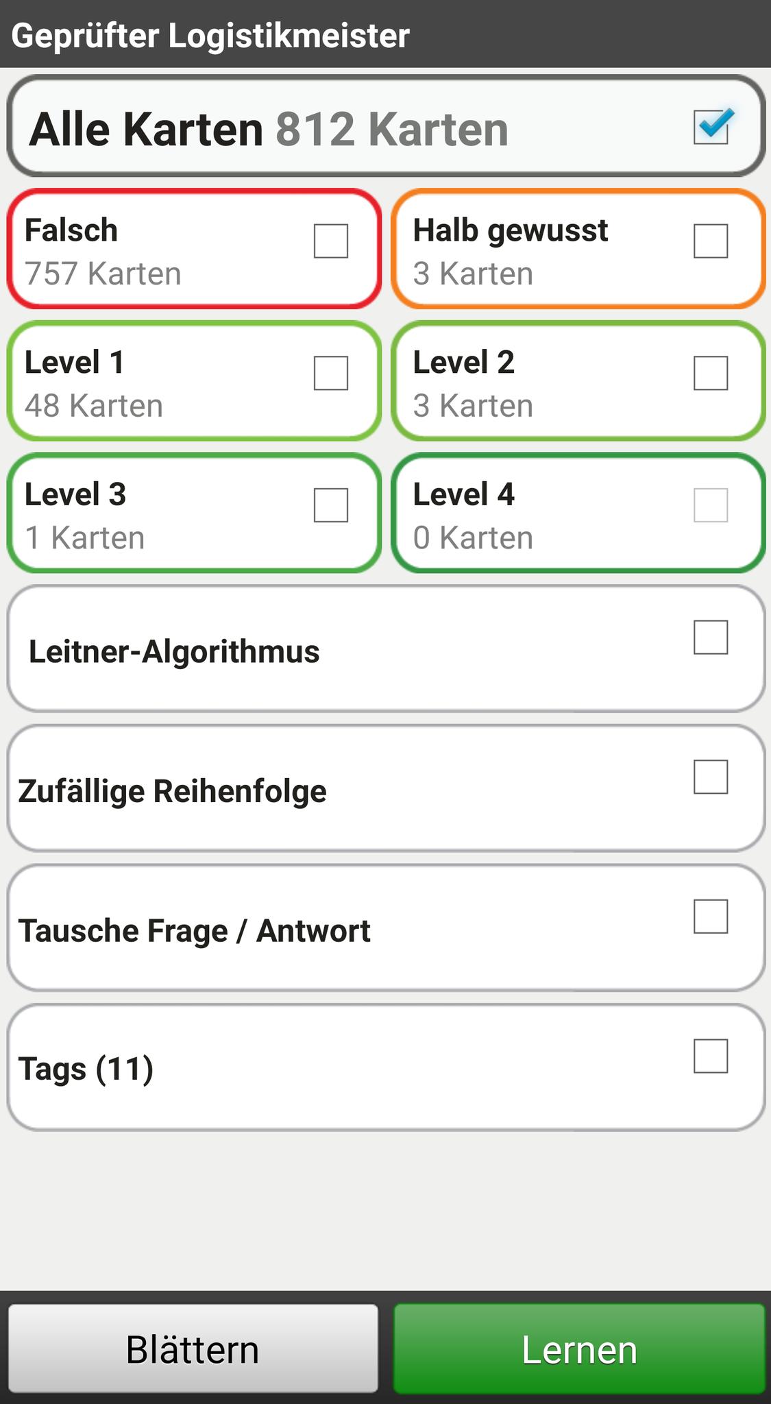 Übersicht in der App (auch einzelne Fächer können gelernt werden!)