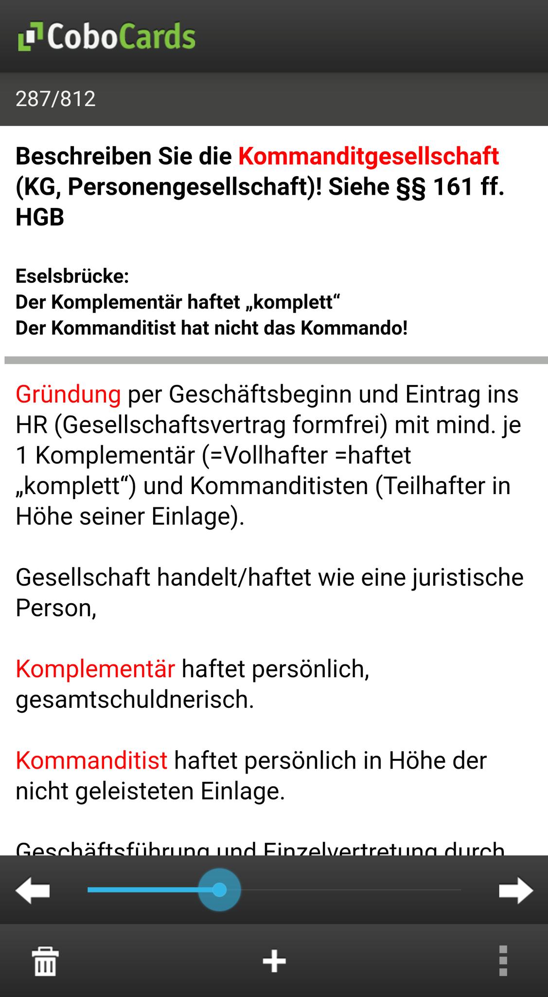 """Beispielkarten in der App (Lernmodus """"blättern"""")"""