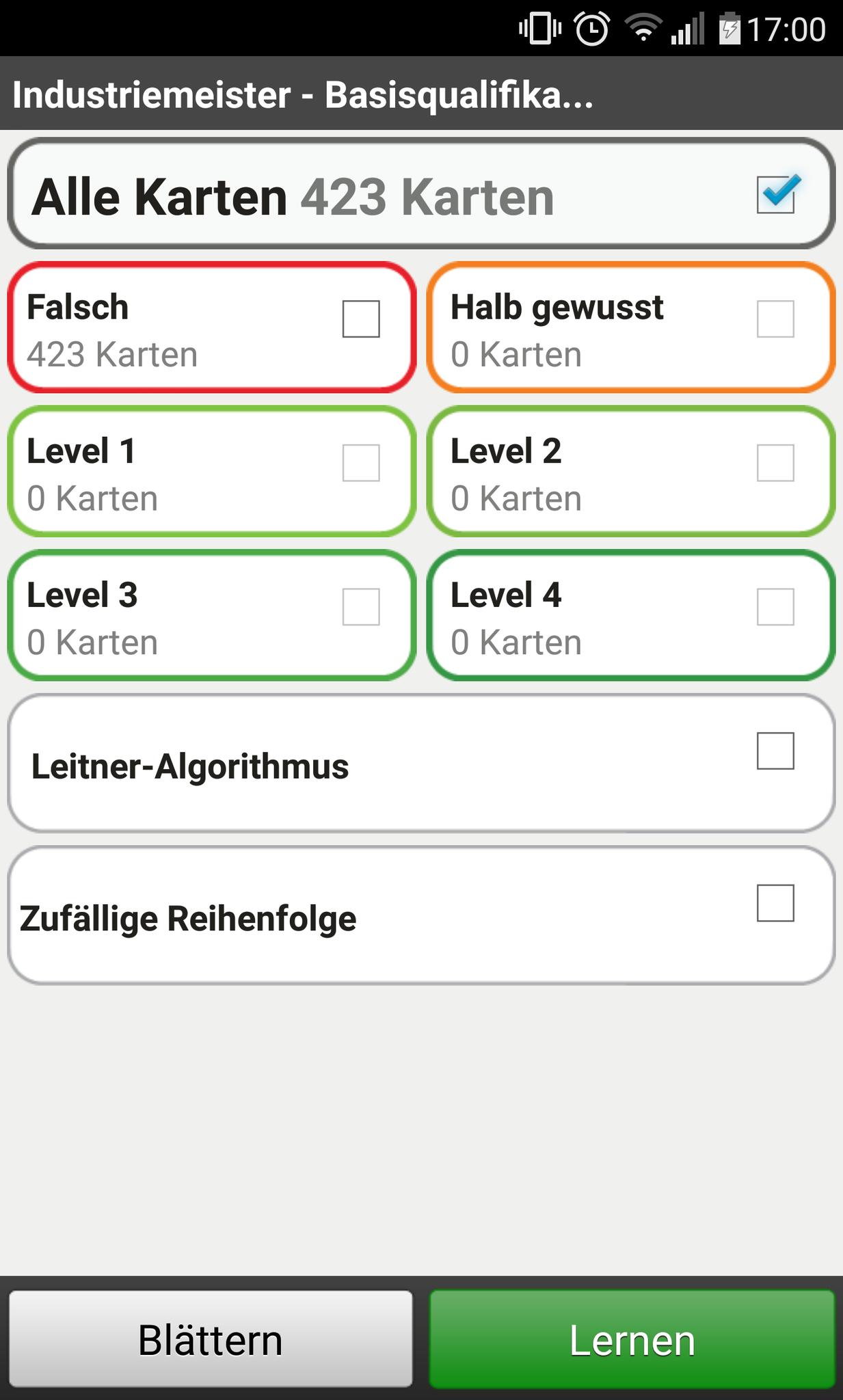 Lern-Übersicht in der App