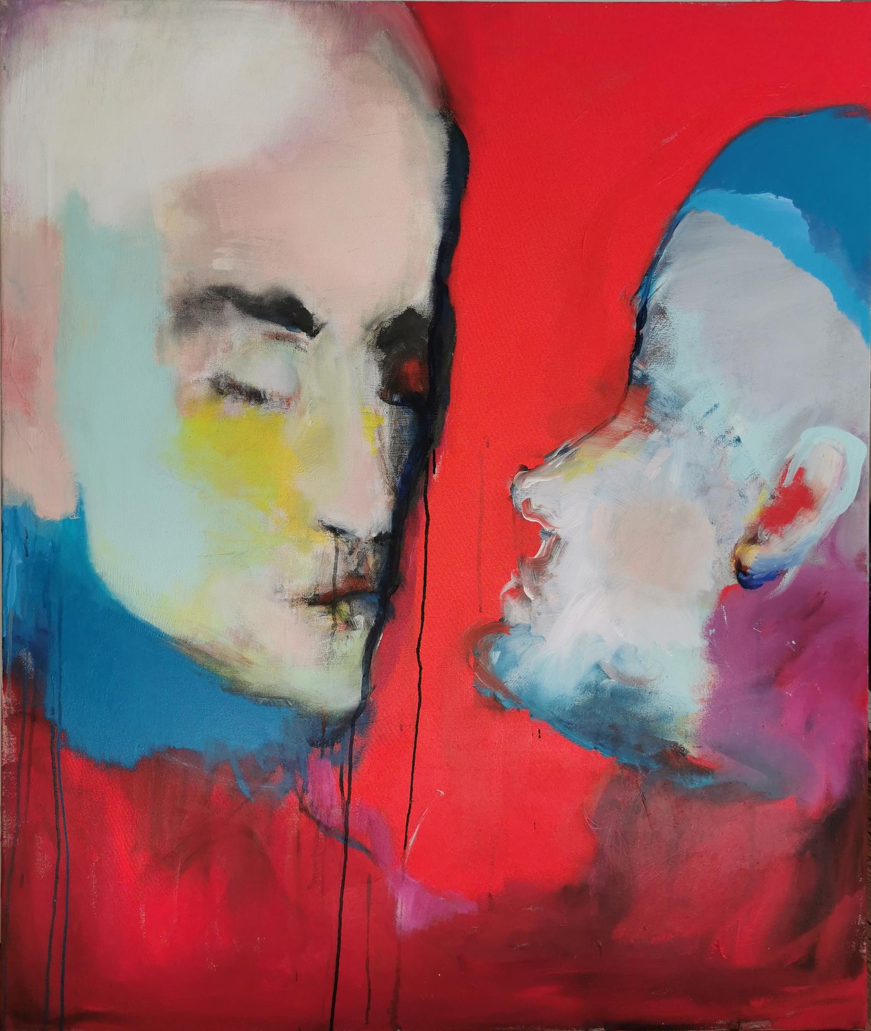 Das Rot (Acrylic, Graphite, Ink on Canvas, 120 x 100cm)