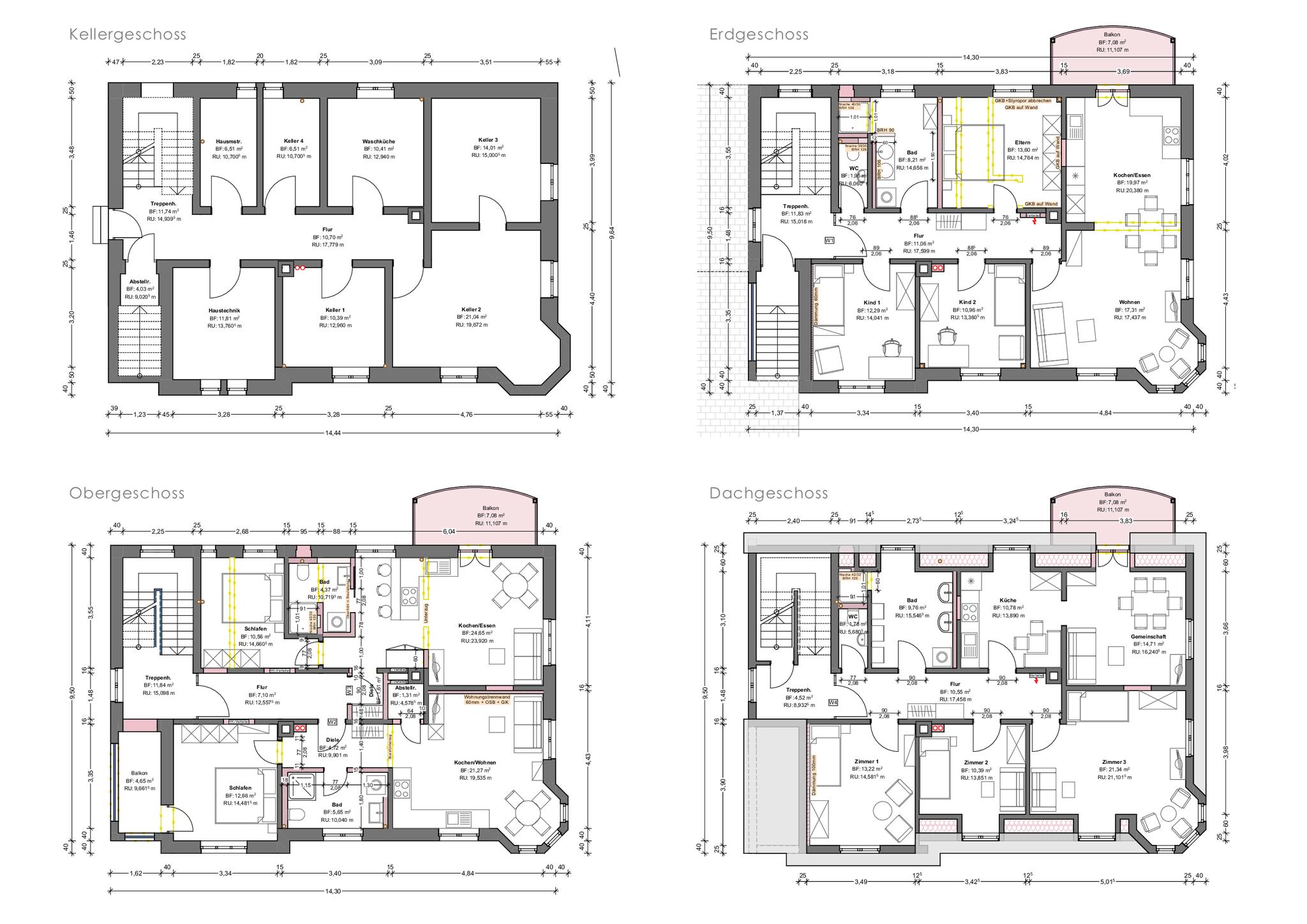 Grundriss Kellergschoss, Erdgeschoss, Obergeschoss, Dachgeschoss