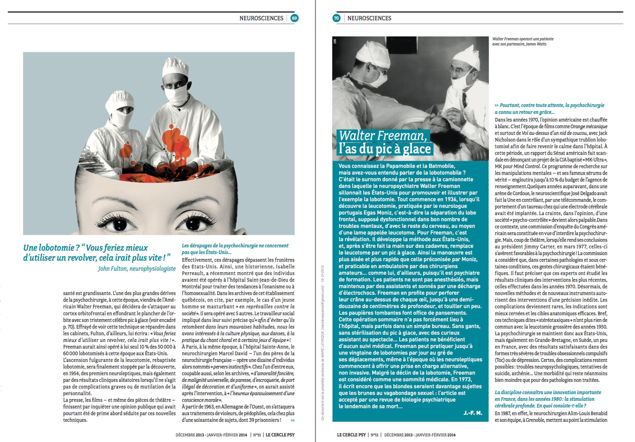 Cercle Psy - La psychochirurgie : entre promesse et repentir - 02/02/14   (2-3)