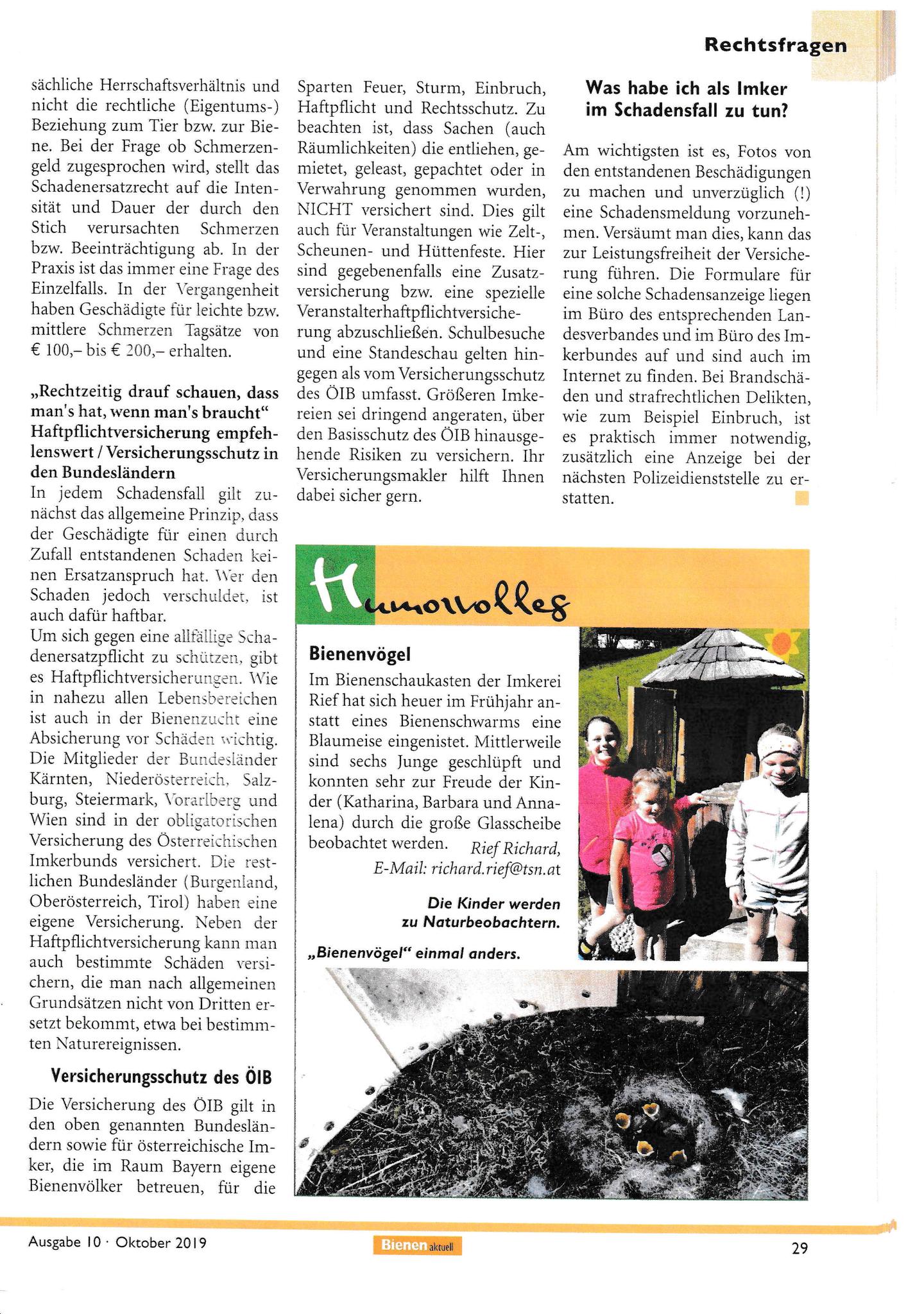 """Humorvolles in """"Bienen aktuell"""" - 2019"""