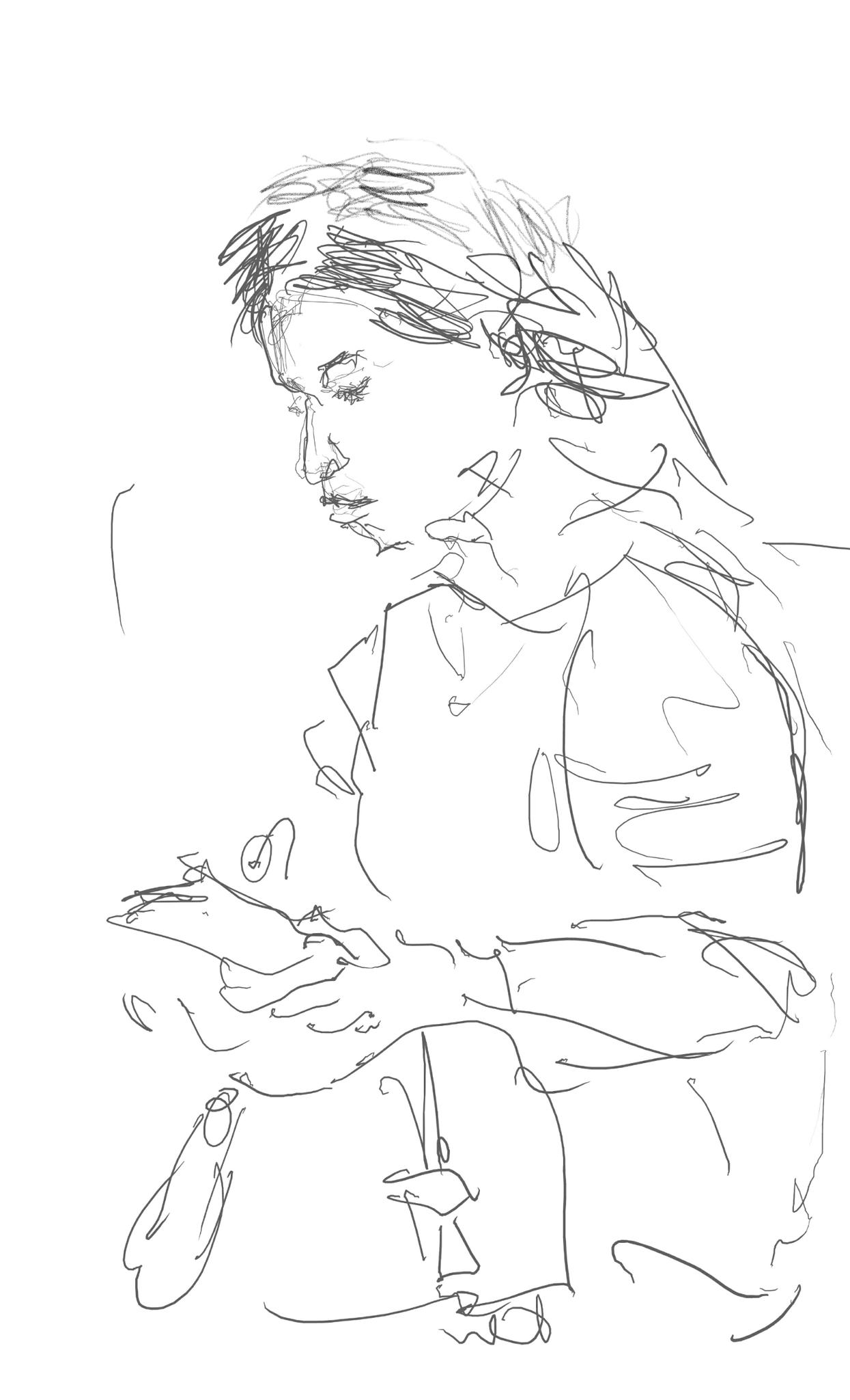 Frau im Zug, Sceernzeichnung, 2019