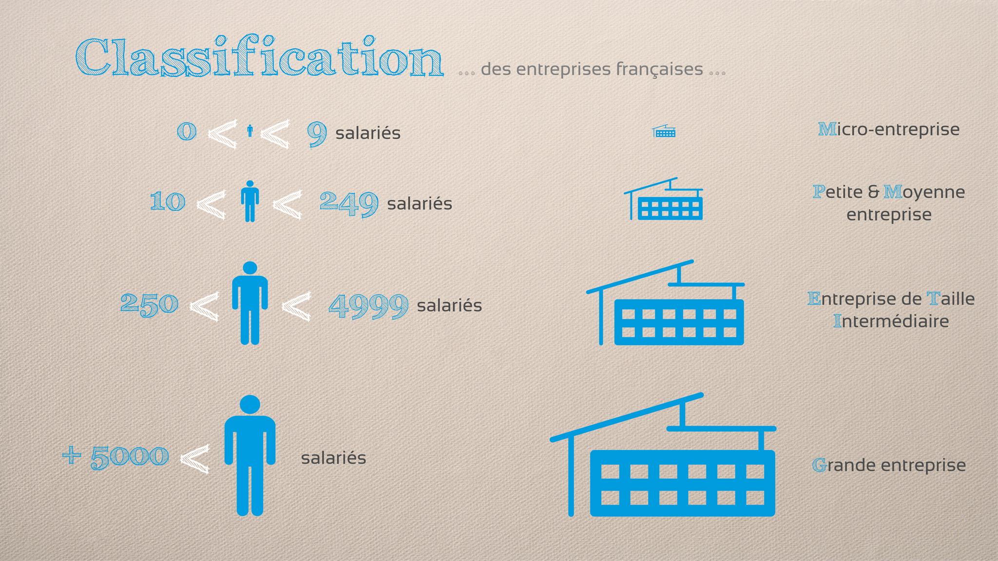 En France, on diffère 4 types d'entreprises en fonction de leur masse salariale.